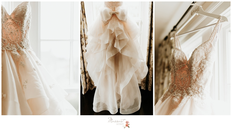 details of wedding gown for Newport RI wedding photographed by wedding photographers Massart Photography