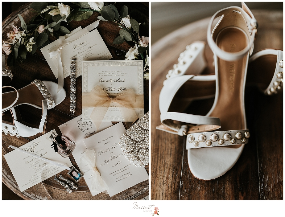 brides shoes and paper details for Castle Inn wedding Newport RI by Massart Photography