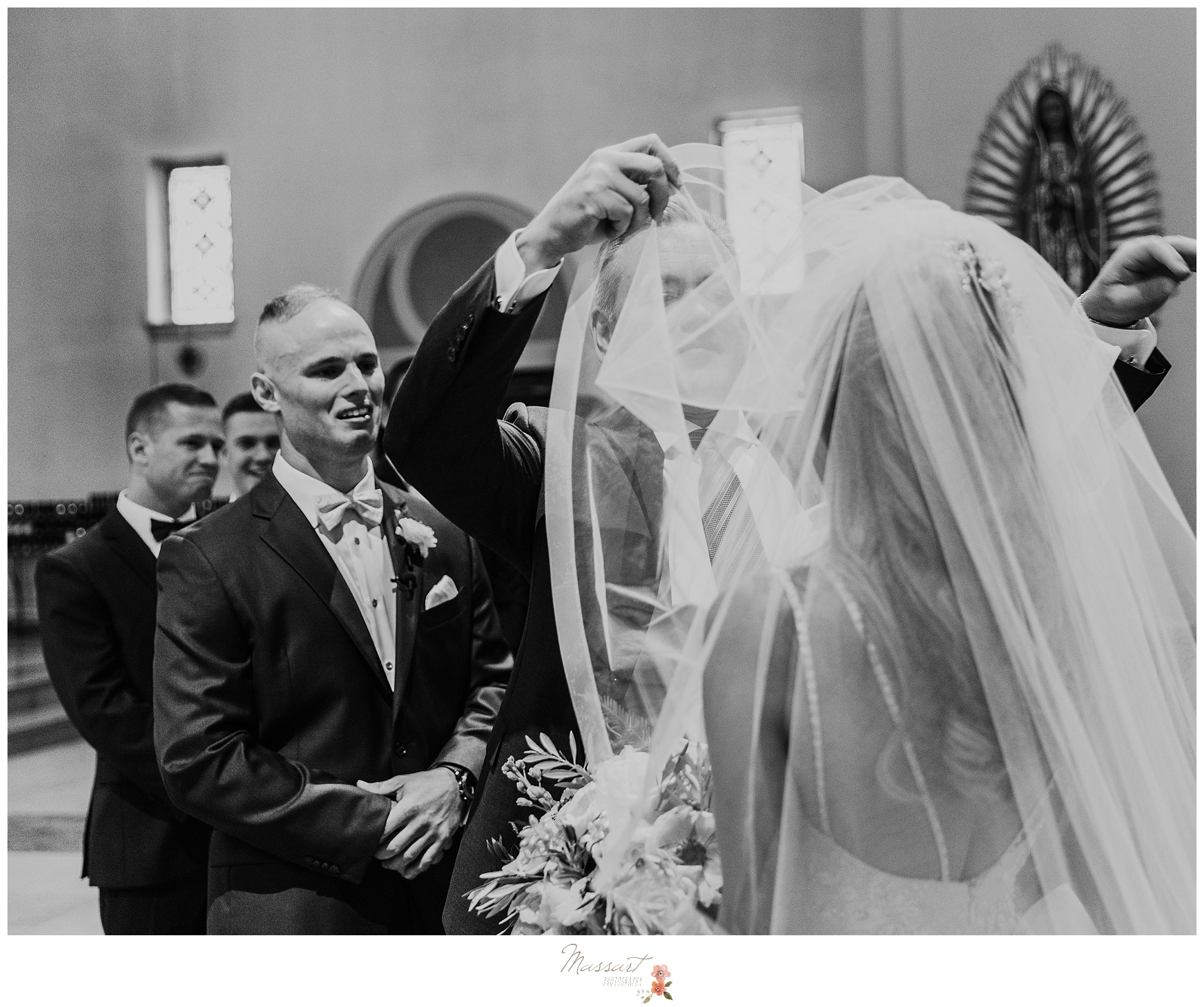 Massart Photography captures father lifting bride's veil before wedding ceremony in Rhode Island