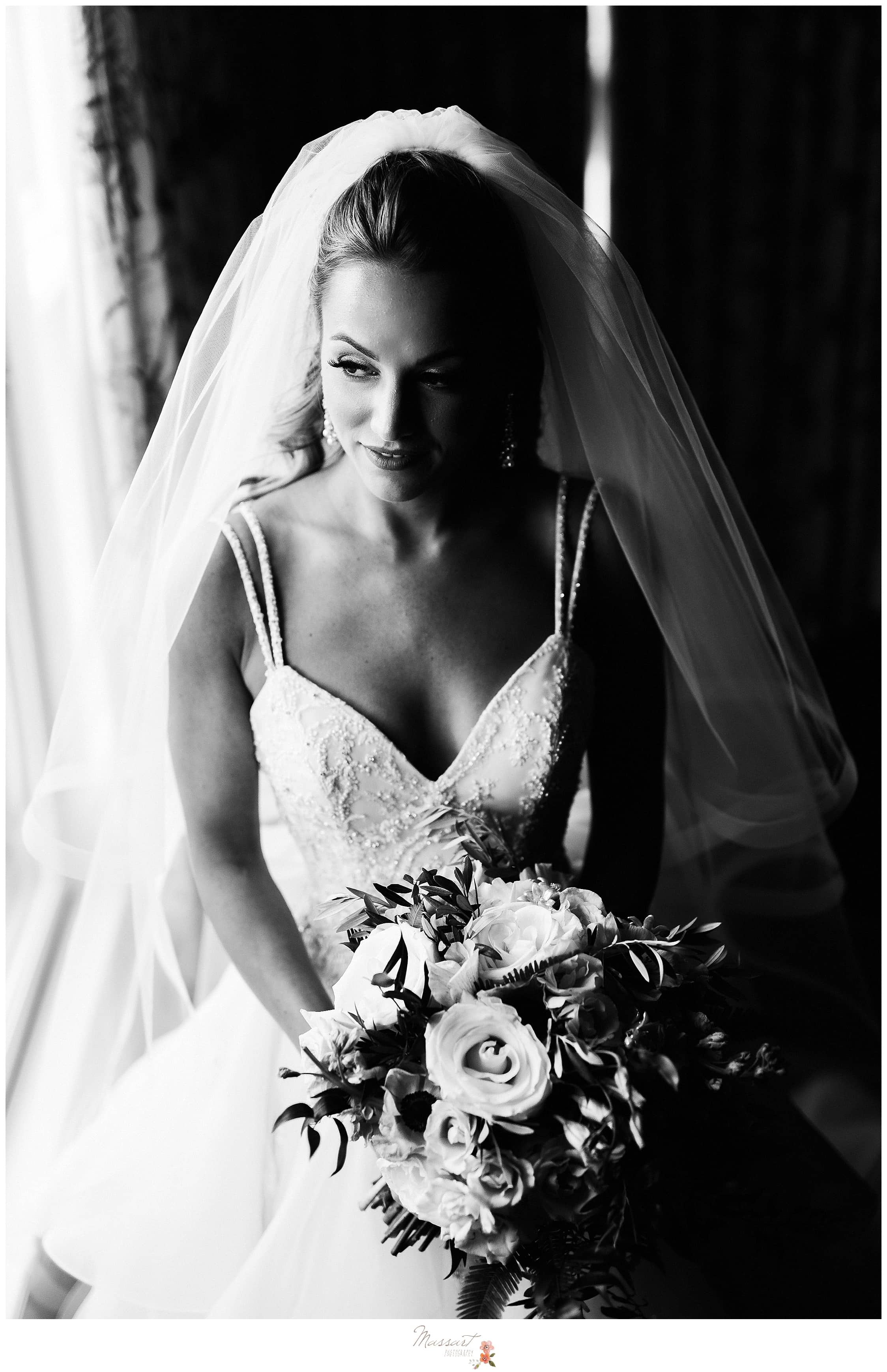 Massart Photography captures classic bridal portrait at Castle Hill Inn in Rhode Island