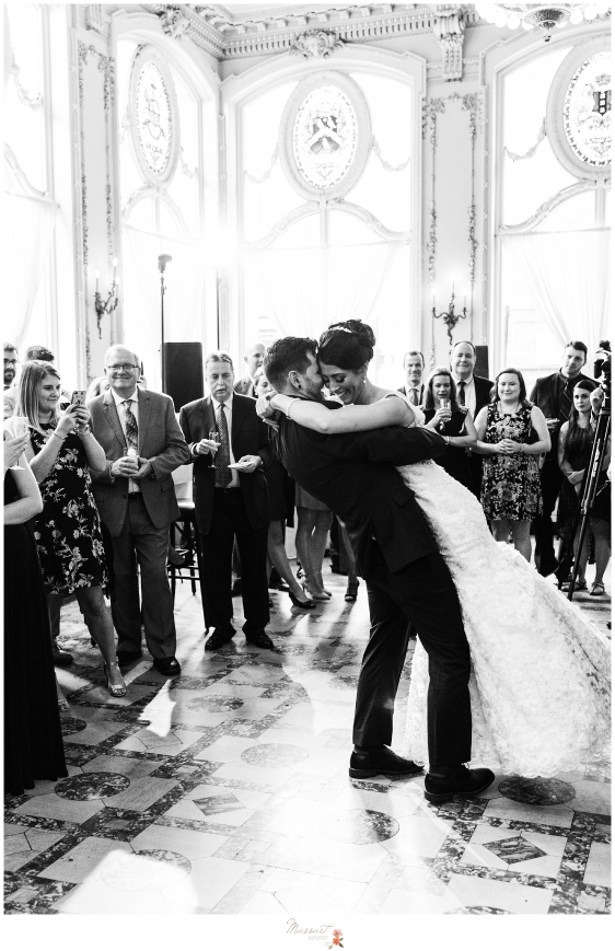 RI, MA, CT wedding Photographers Massart Photography capture first dance at The Dorrance in Providence