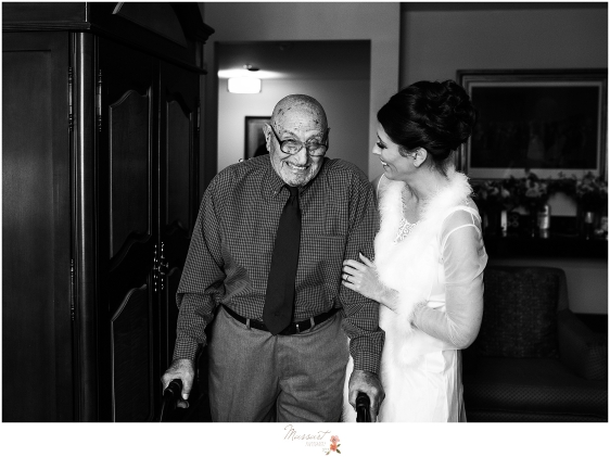 bride and grandfather talk before wedding day in RI photographed by Massart Photography