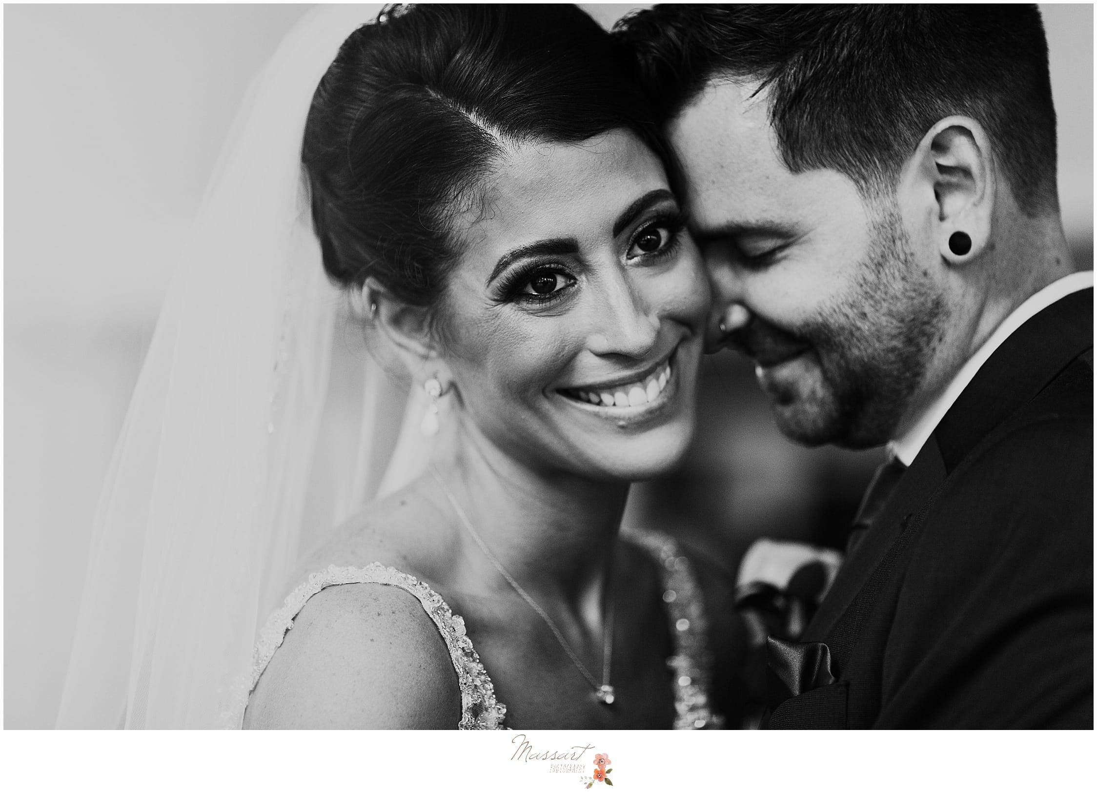 bride and groom classic black and white portrait by RI wedding photographers Massart Photography