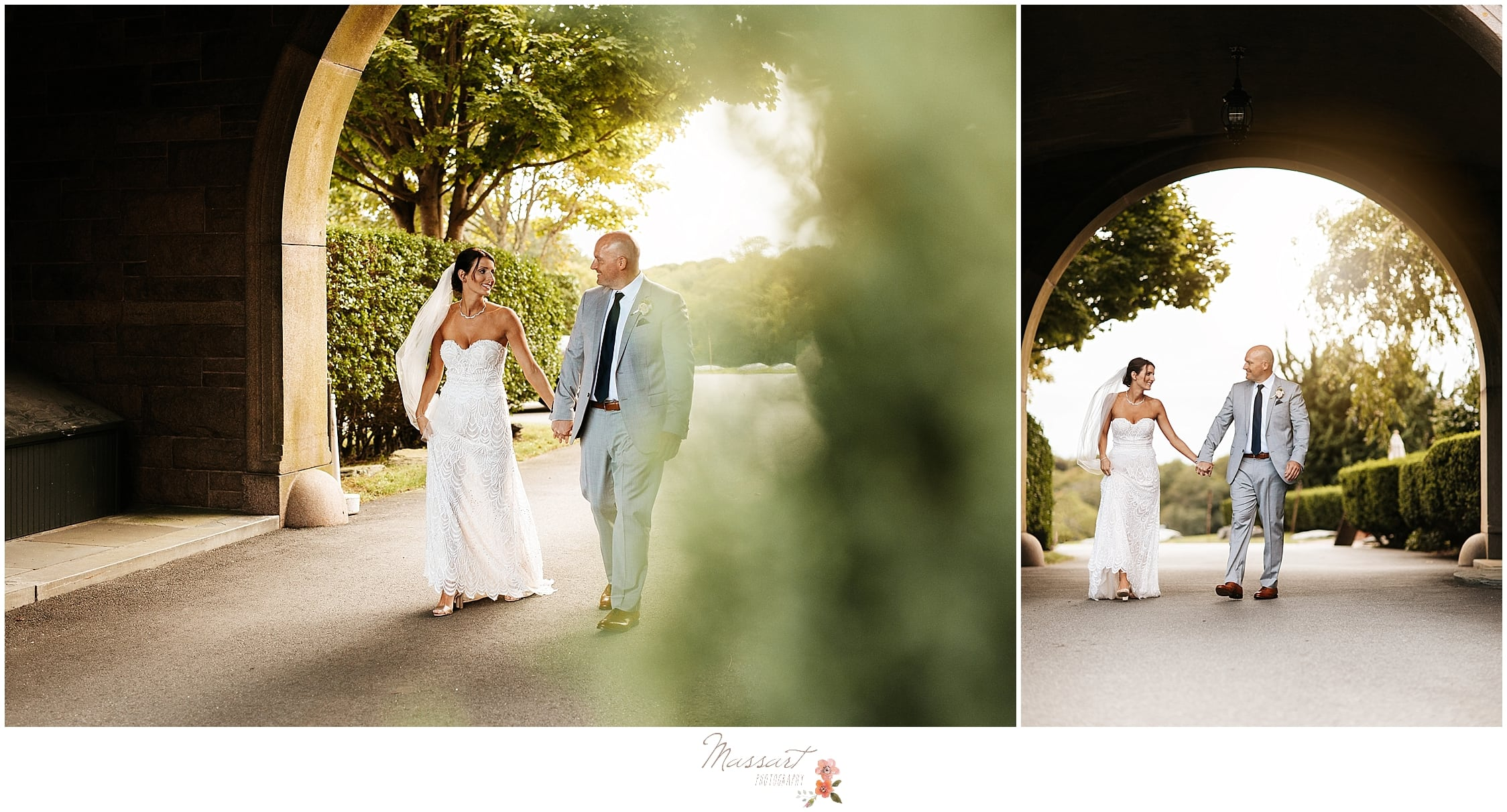 Classic bride and groom portraits at Oceancliff Resort with Rhode Island wedding photographers Massart Photography