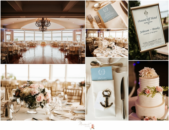 Ivory and blush wedding details at Oceancliff Resort photographed by Newport RI wedding photographers Massart Photography