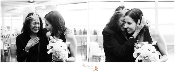 family kisses bridesmaid at wedding reception photographed by Massart Photography