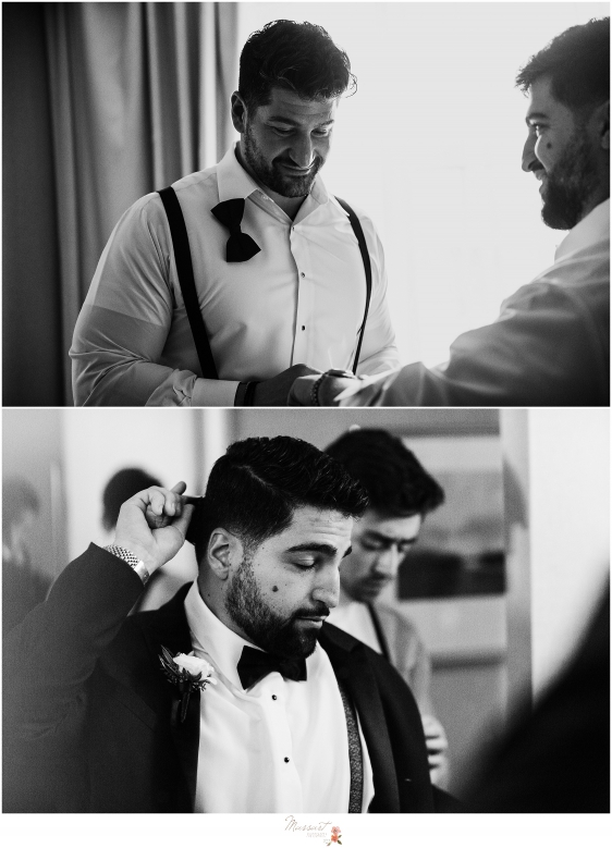Groomsmen assist groom prep for Providence RI wedding day photographed by RI, MA, CT wedding photographers Massart Photography