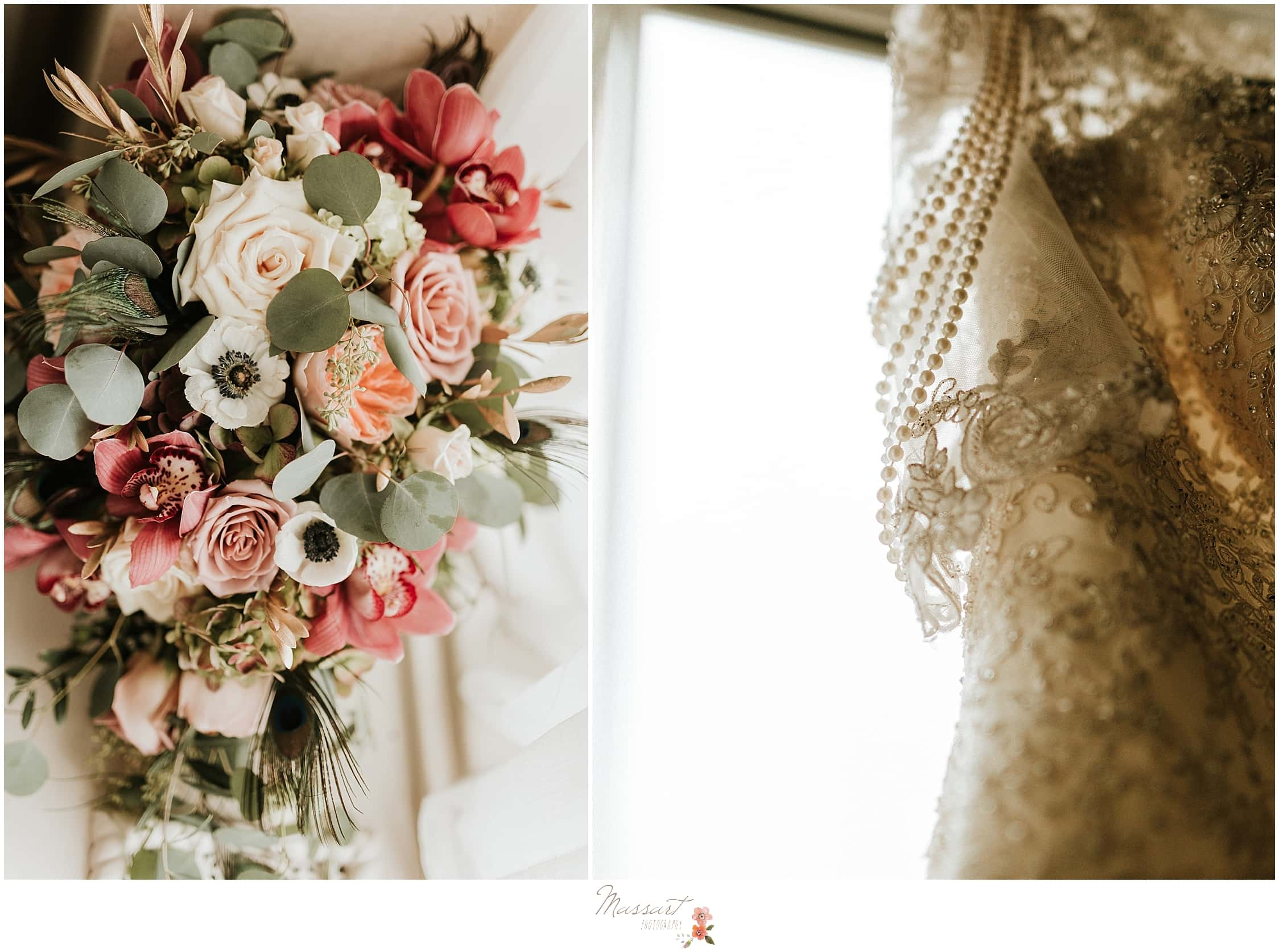 Ivory and pink wedding bouquet by Golden Gate Studios photographed by RI wedding photographers Massart Photography