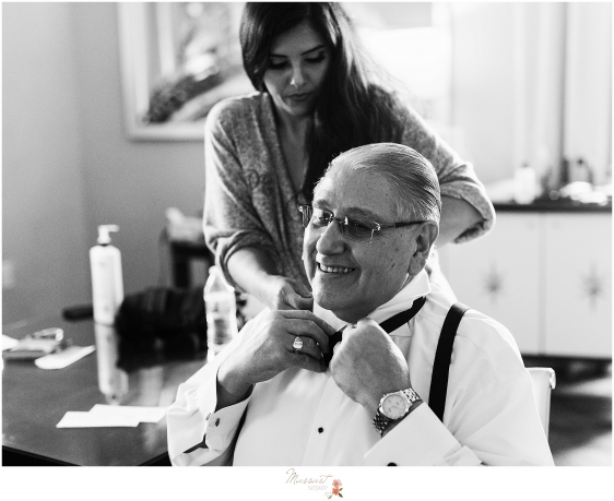 father gets ready for wedding day at Providence Biltmore photographed by RI, CT, MA wedding photographers Massart Photography