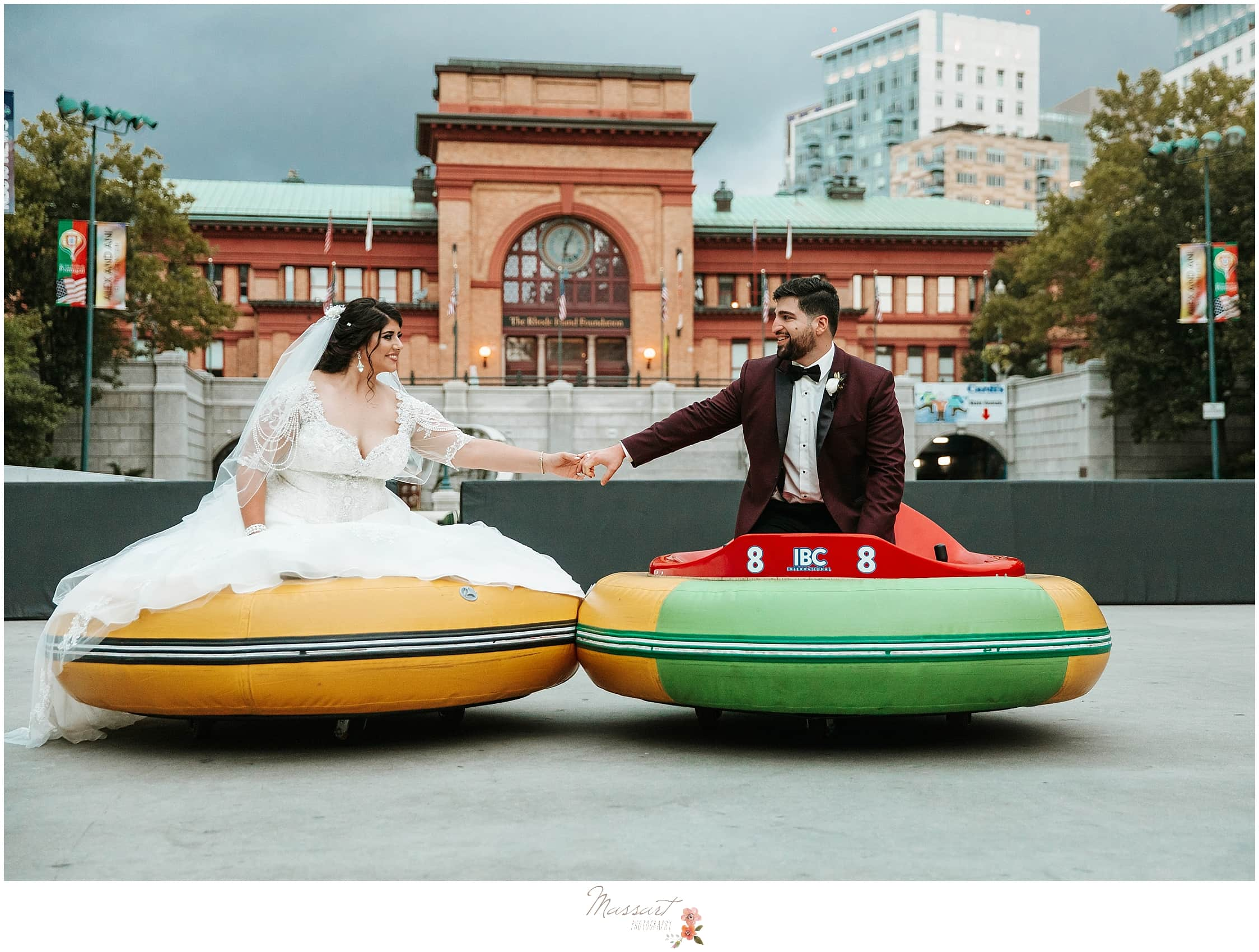 fun wedding portraits at the Providence Biltmore photogrpahed by RI, MA, CT wedding photographers Massart Photography