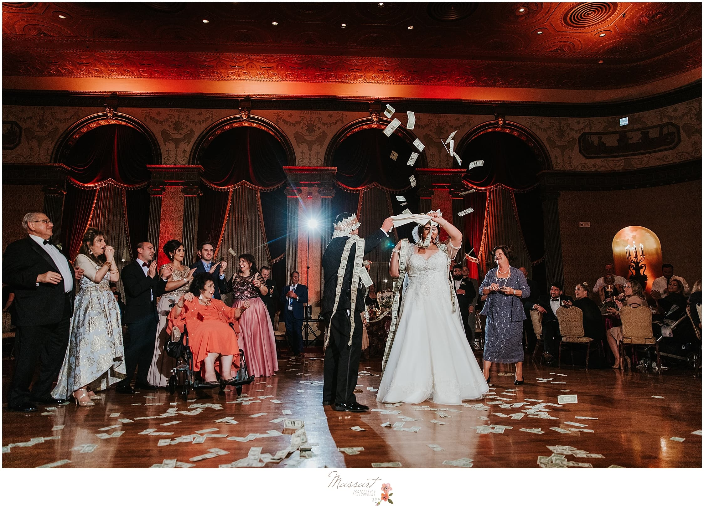 bride and groom celebrate wedding day at the Providence Biltmore photographed by RI, MA, CT wedding photographers Massart Photography