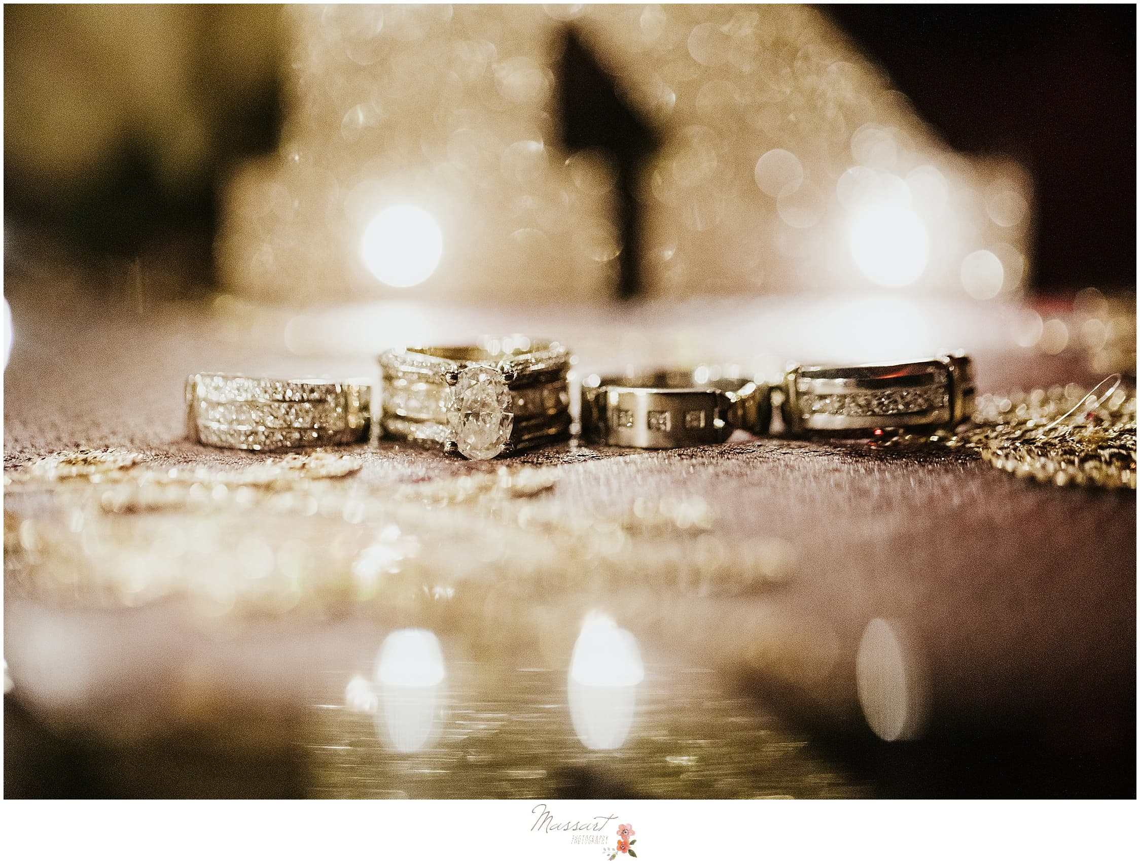 classic gold wedding rings photographed by RI, MA, CT wedding photographers Massart Photography