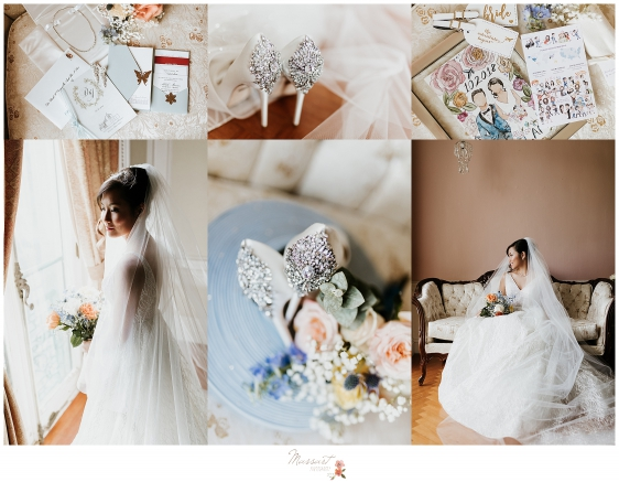 baby blue and blush wedding details photographed by RI, MA, CT wedding photographers Massart Photography