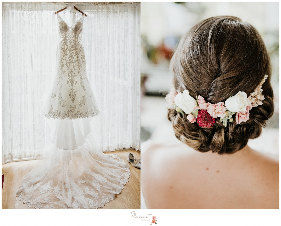 Lace gown and flower hairpiece for bride photographed by New England wedding photographers Massart Photography