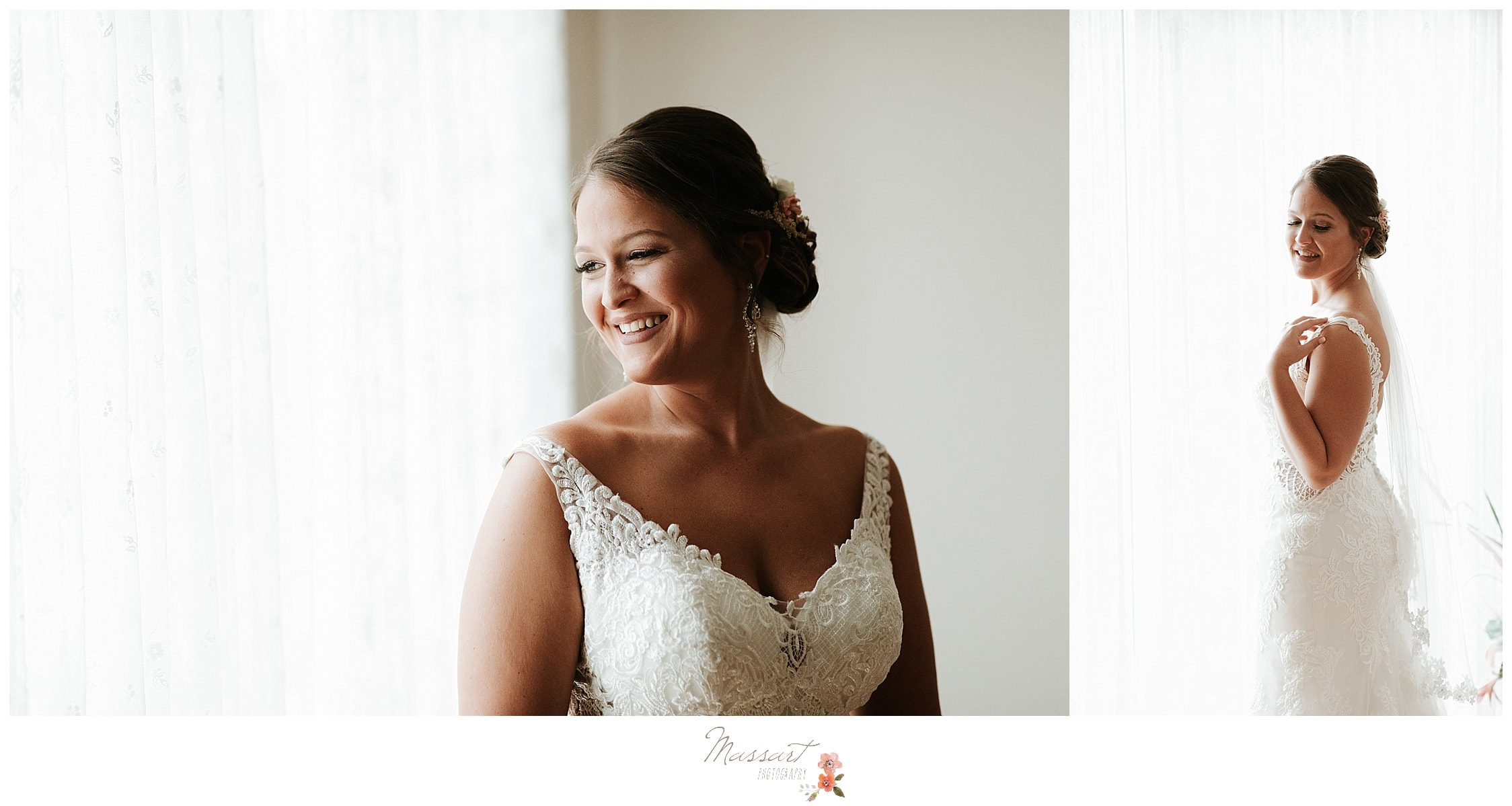 Gorgeous bride in lace wedding gown from Alexandria's Bridal photographed by MA wedding photographers Massart Photography