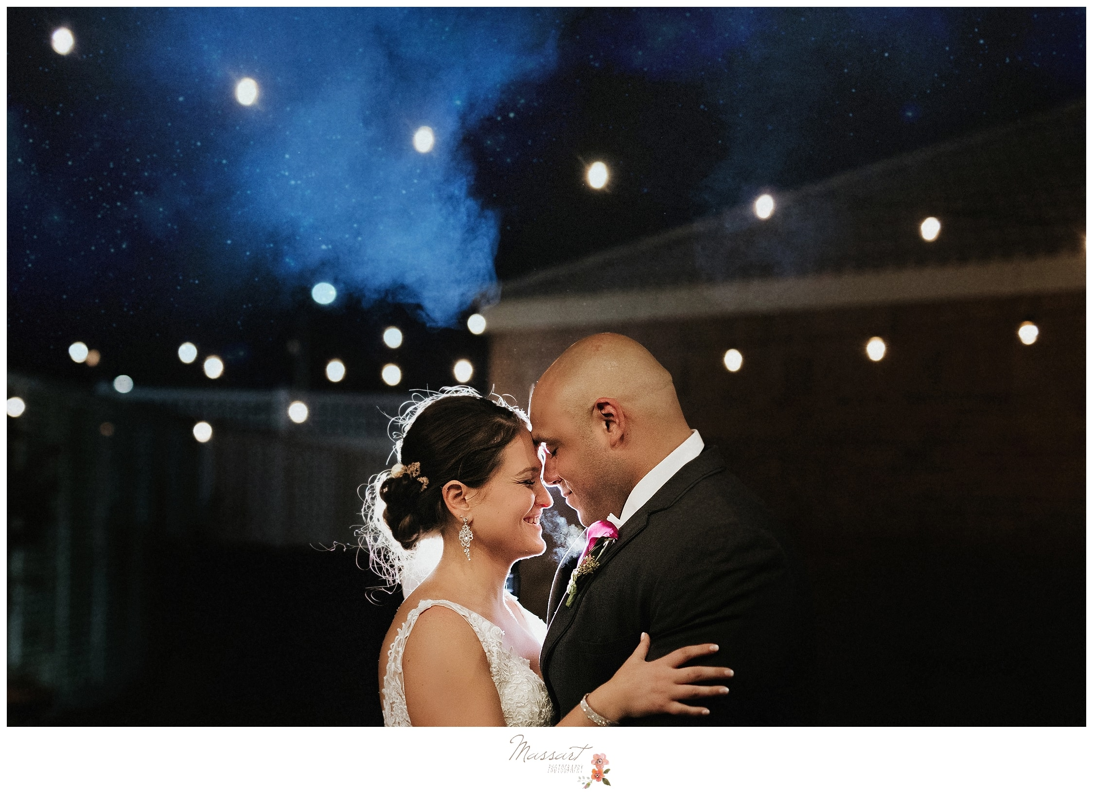 Nighttime outdoor wedding portraits with wedding photographers Massart Photography