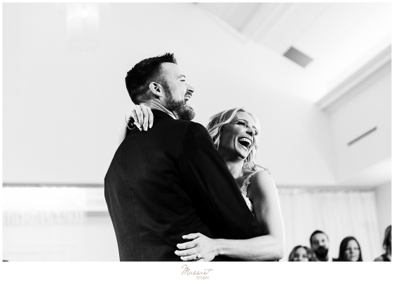 bride and groom laugh during wedding day at Lakeview Pavilion photographed by Massart Photography