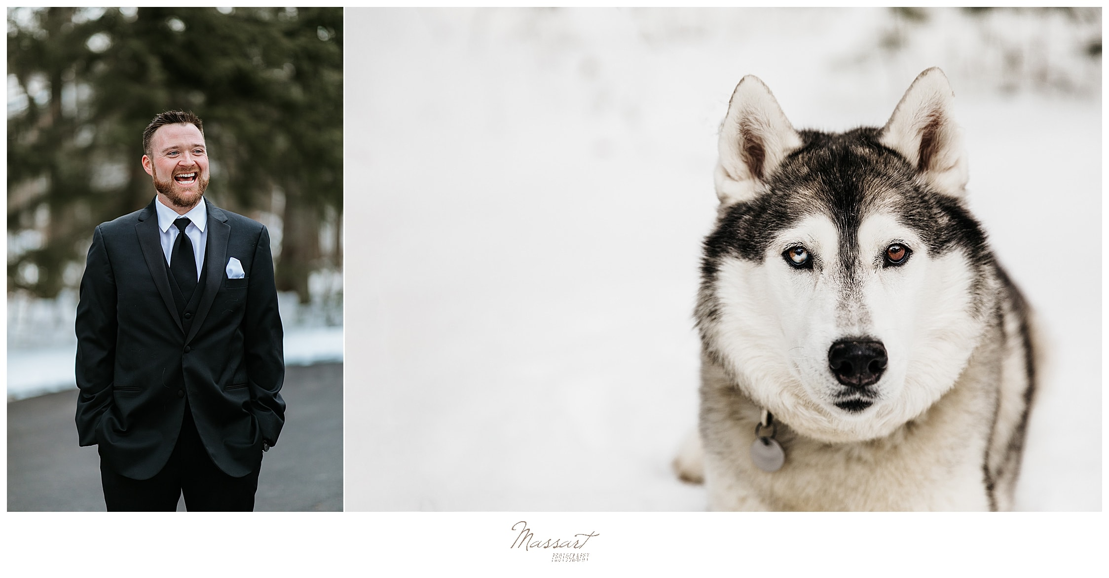 winter wedding photos with dog by MA, CT, RI wedding photographers Massart Photography