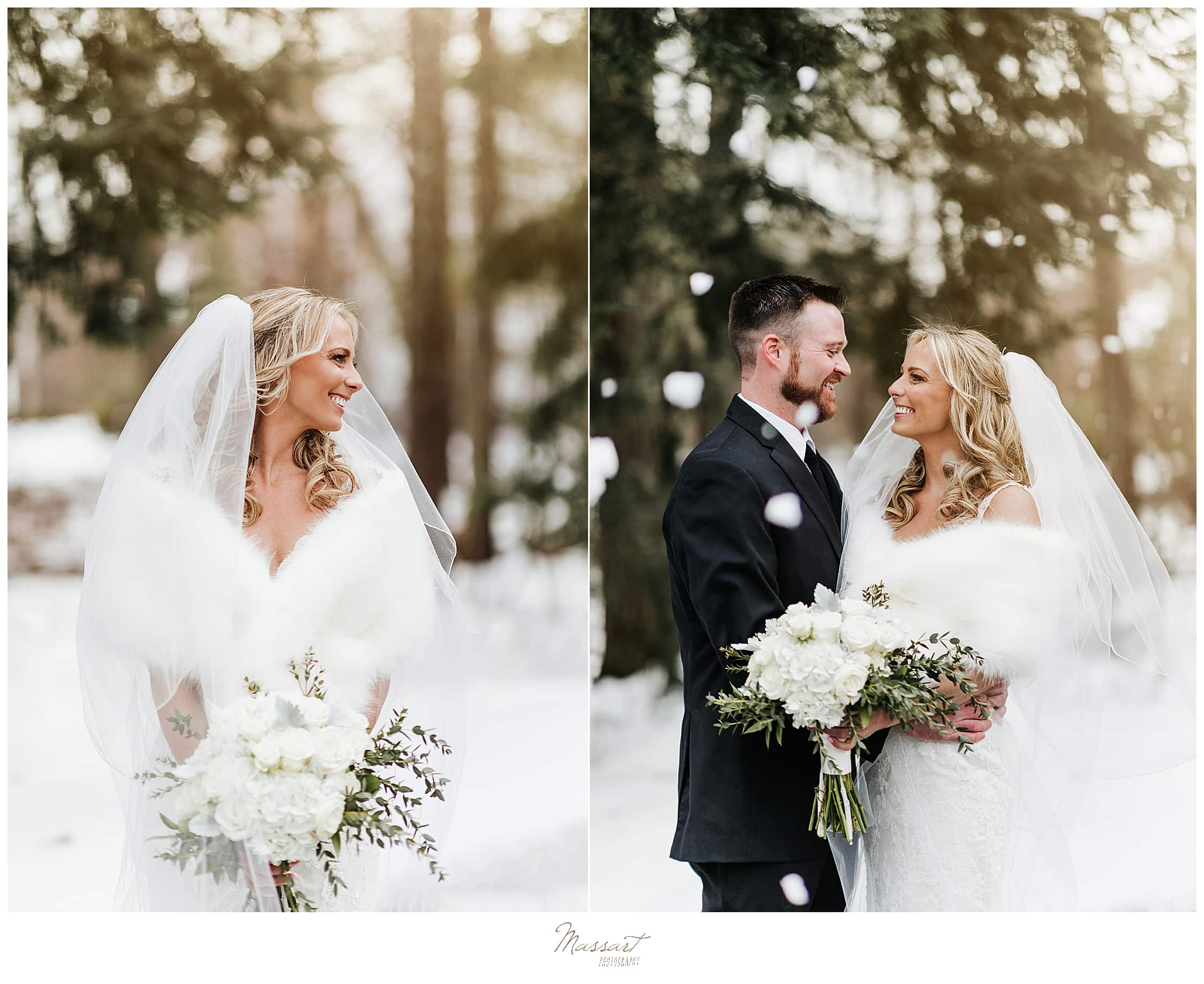 RI, CT, MA wedding photographers Massart Photography capture winter wedding portraits in Massachusetts