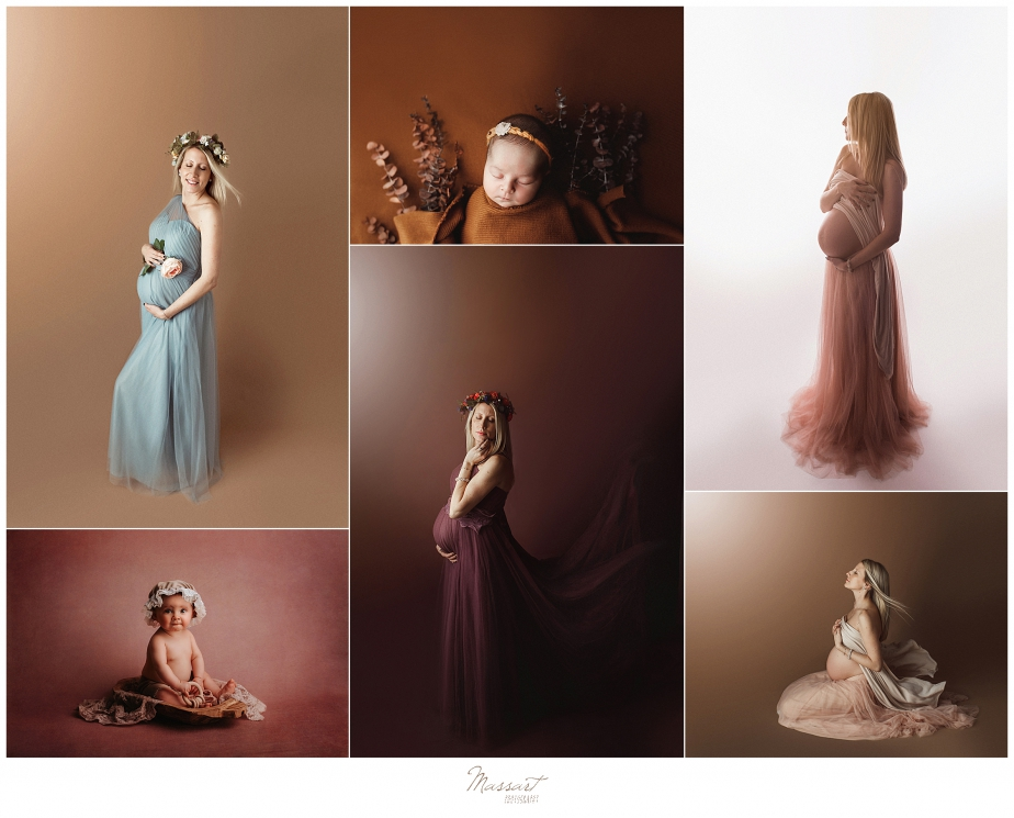 Maternity, newborn and baby pictures during studio portrait sessions with Massart Photographers in Rhode Island and servicing RI, CT and MA
