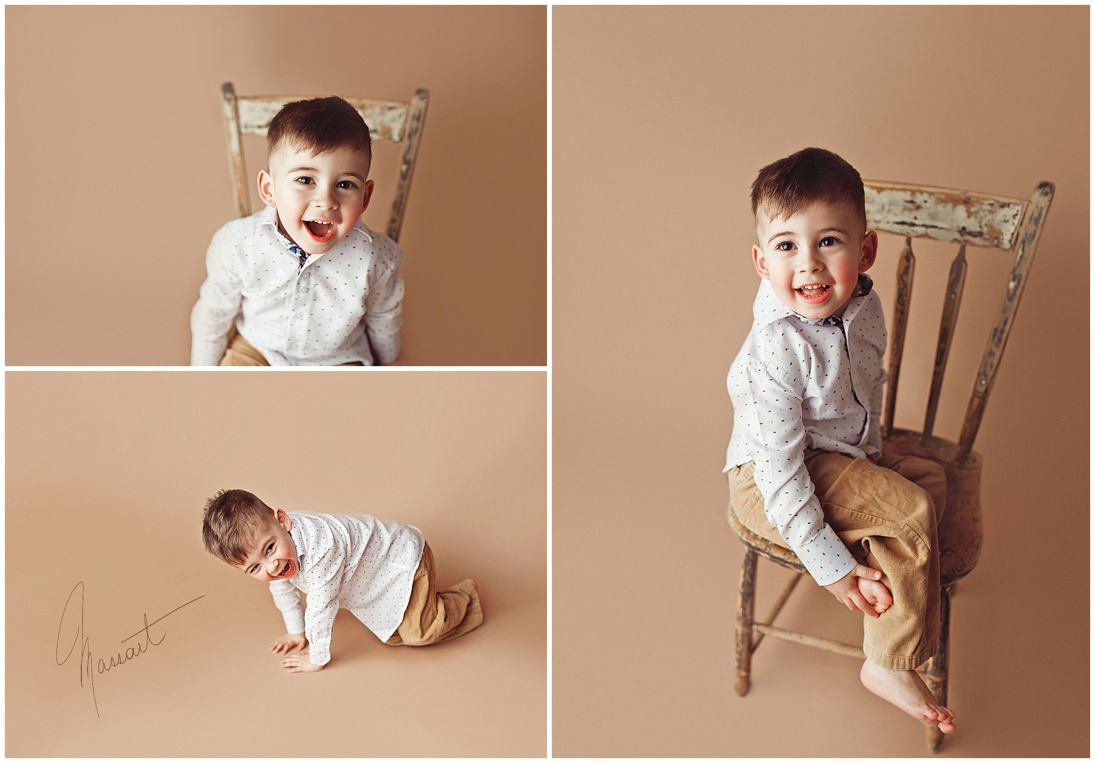 Timeless images of a boy during a family session in studio at Massart Photography