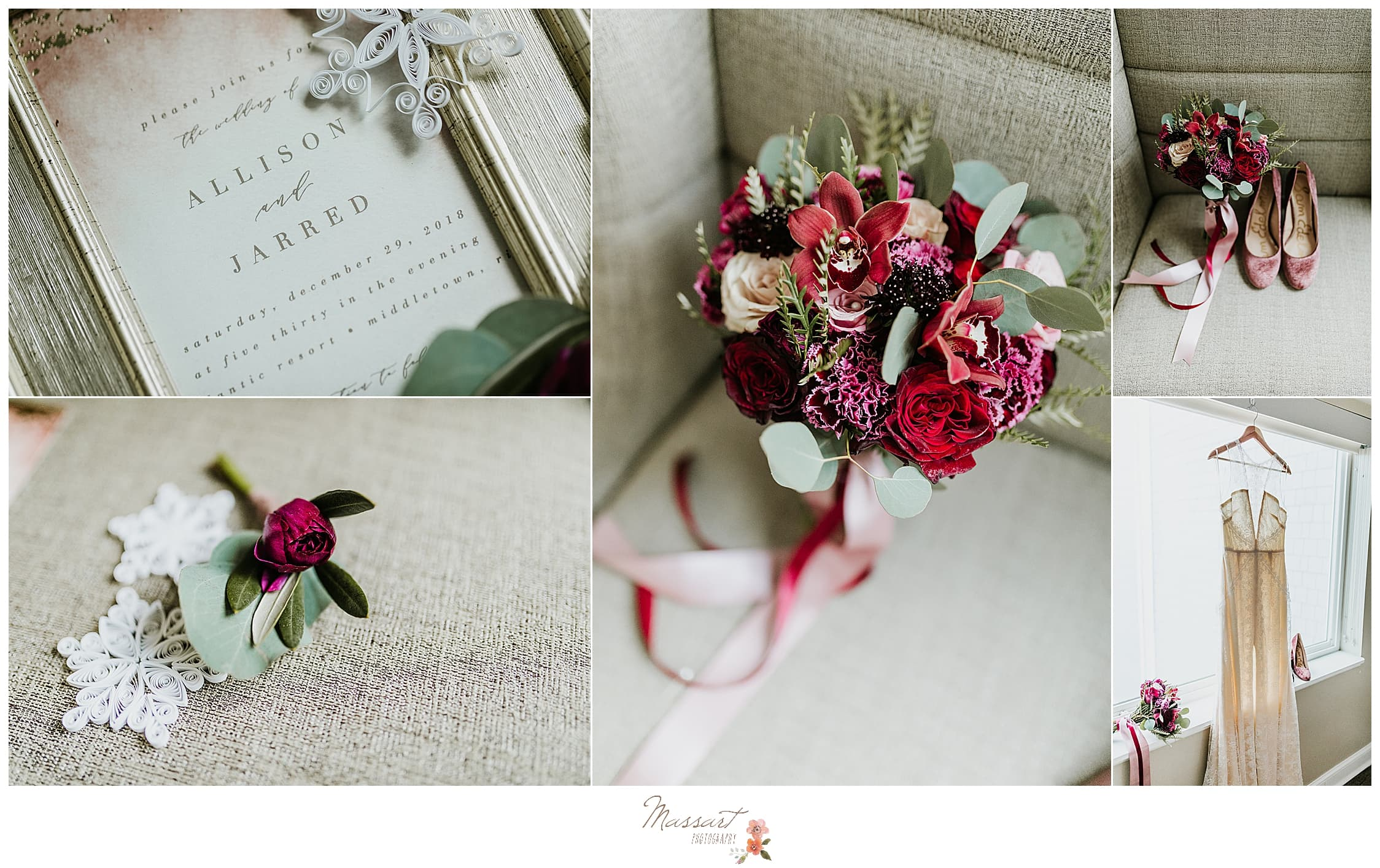 Massart Photography captures the bride's wedding details, bouquet and dress for her newport wedding.