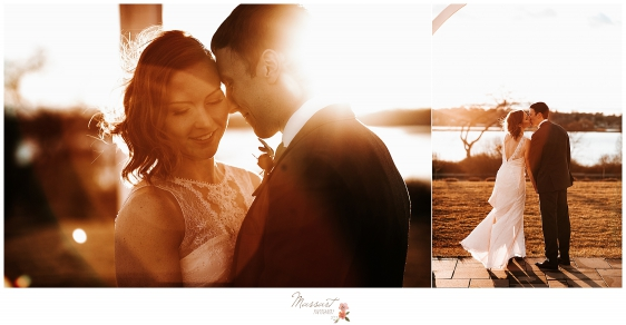 A sun drenched image of the bride and groom at their atlantic resort Newport RI wedding