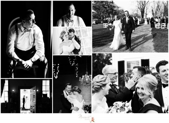 Timeless black and white pictures from a Linden Place, RI wedding by Massart Photography