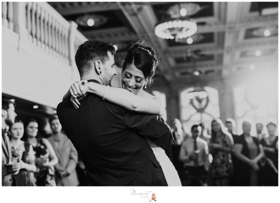 Bride and groom share their first dance at their dorrance wedding in Providence, Rhode Island. Captured by RI wedding photographers