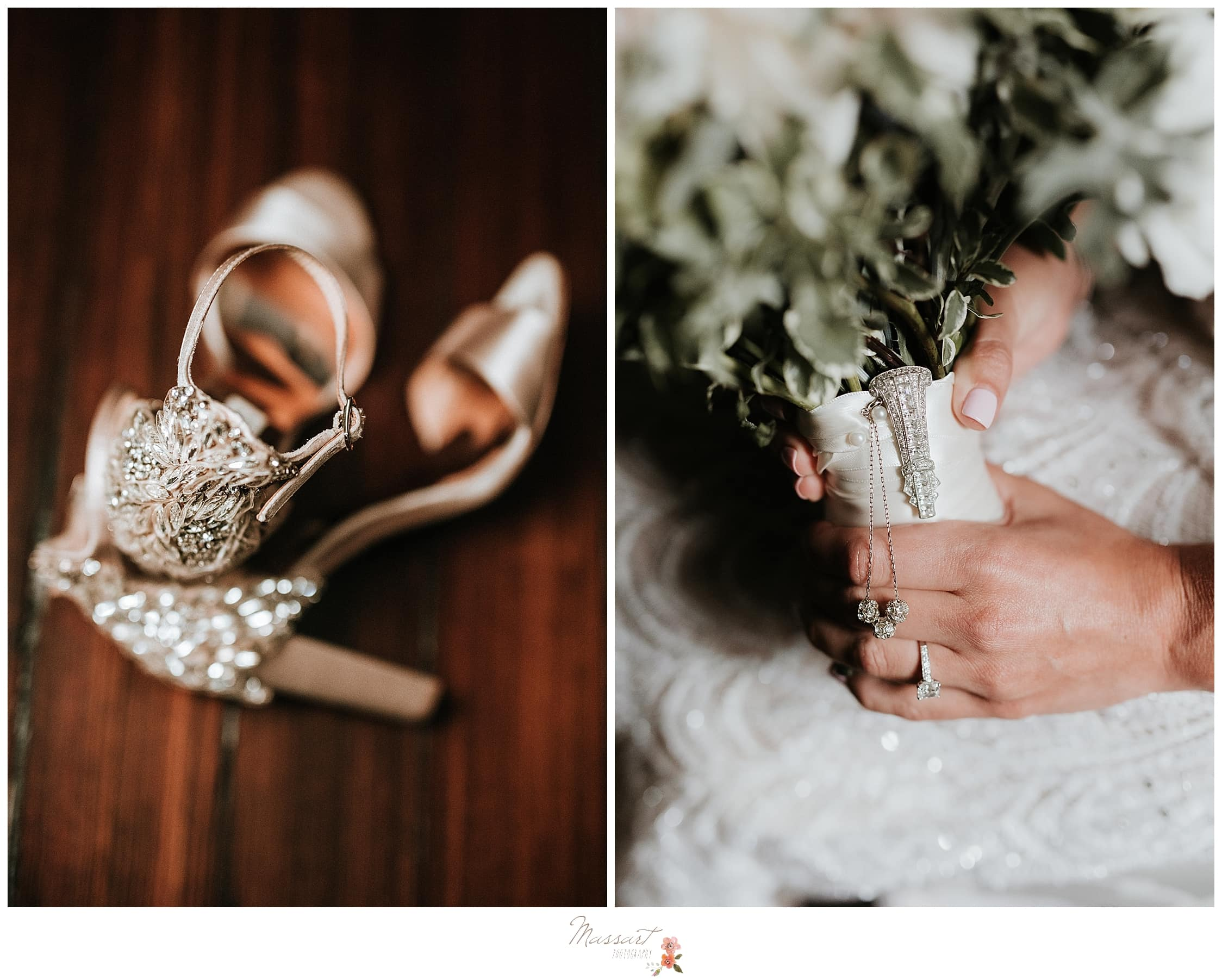 The bride's shoes and bouquet are important details captured by RI wedding photographers