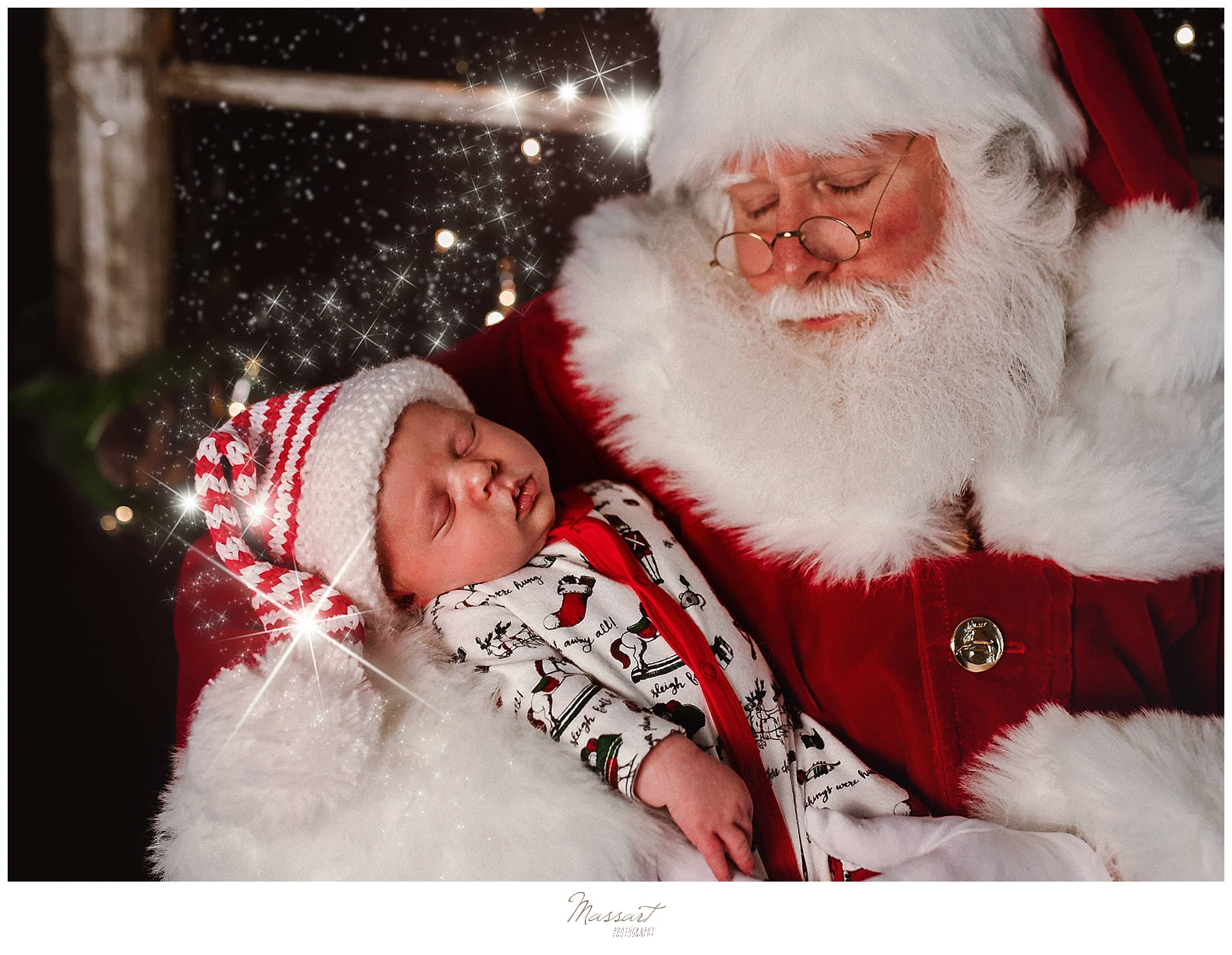 Santa and baby during seasonal special sessions in RI photo studio