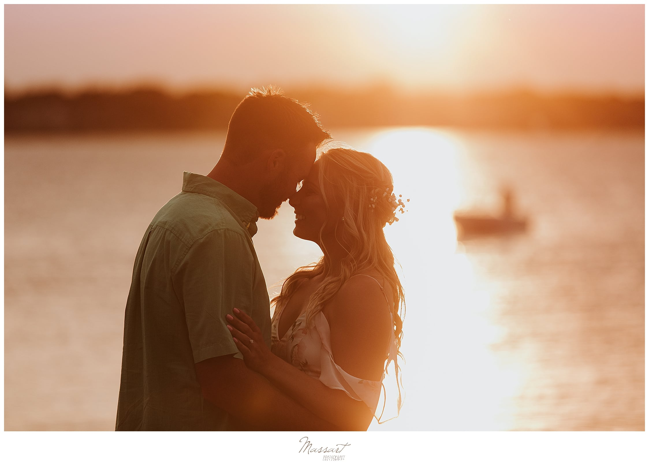 Romantic sunset image during an engagement session with wedding photographers in RI