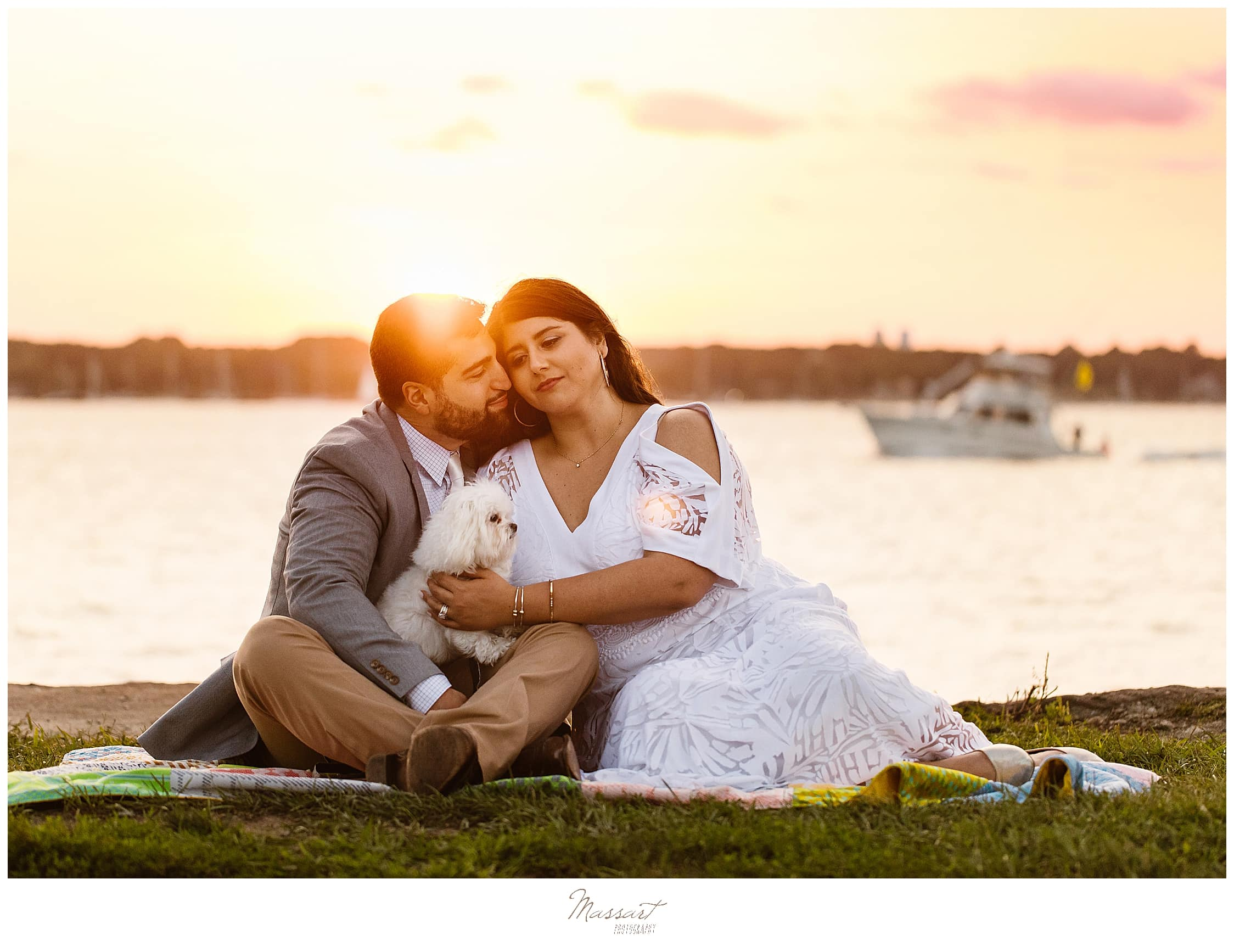 A sunset engagement session at Fort Adams in Newport, Rhode Island by Massart Photographers
