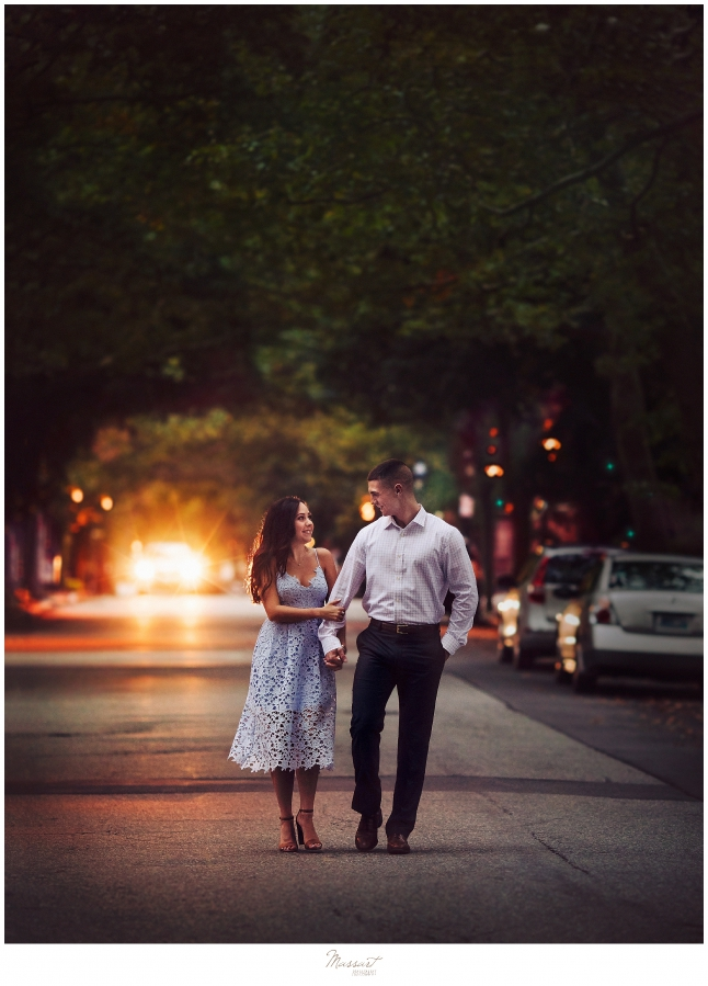 A romantic engagement picture in downtown providence in rhode island taken by RI photographers