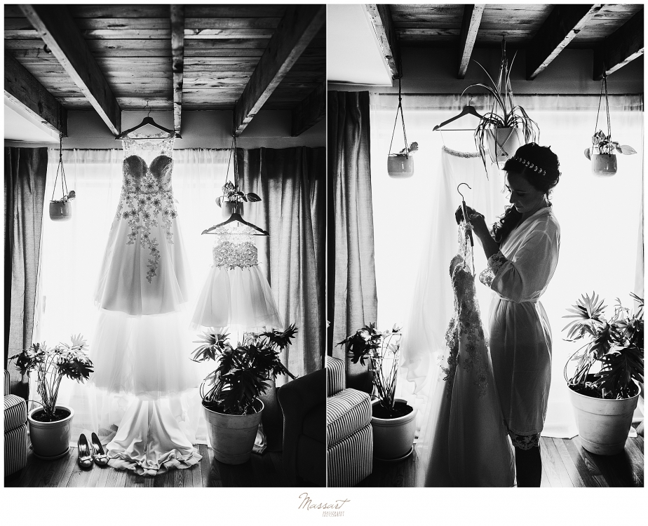 bride prepares wedding gown photographed by Massart Photography