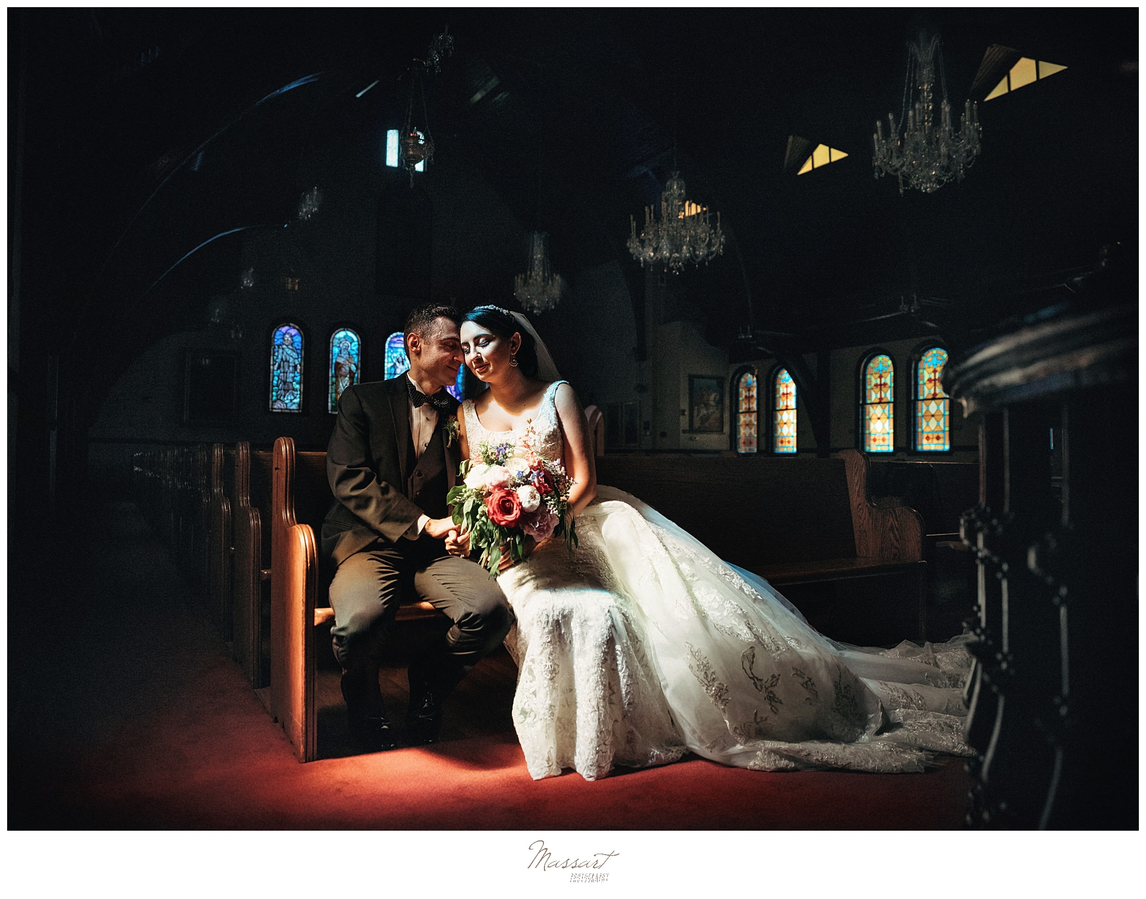 romantic wedding portraits by RI wedding photographers Massart Photography