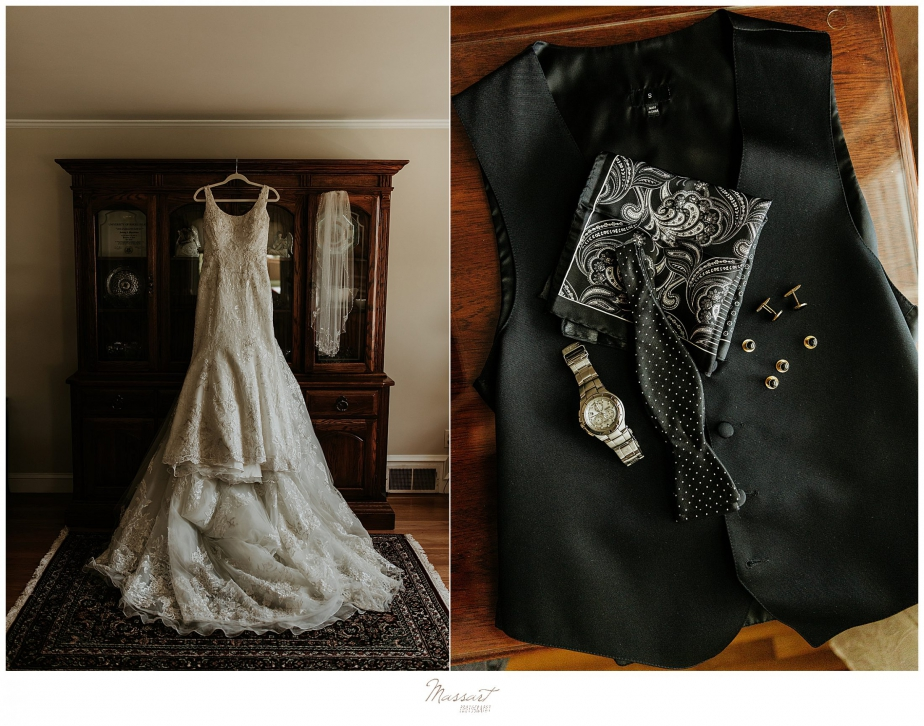 wedding gown photographed before Rhode Island wedding by wedding photographers Massart Photography