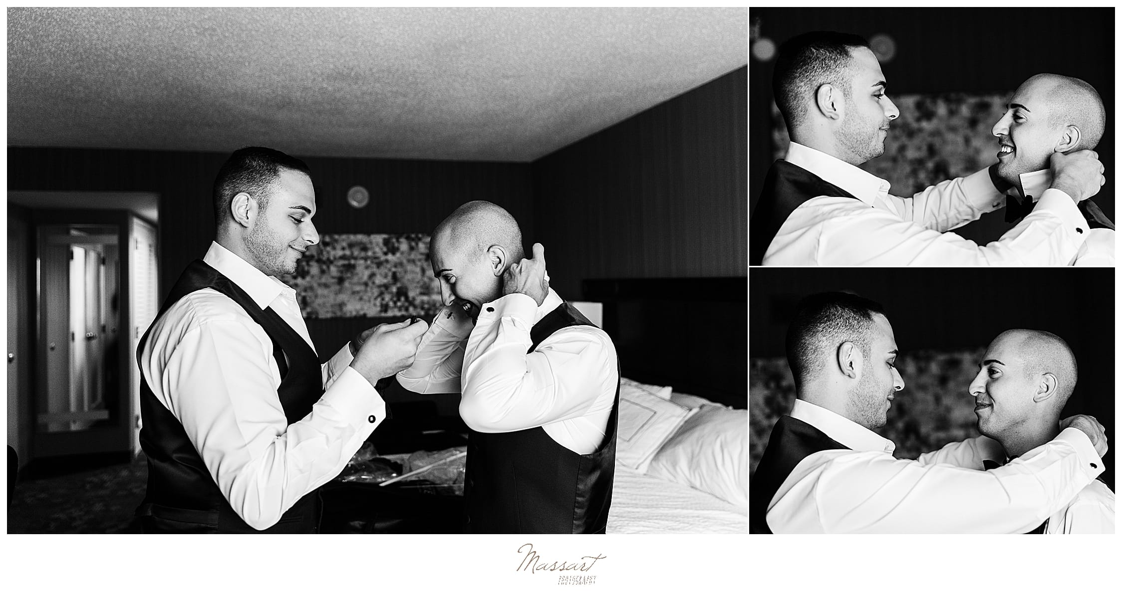 grooms prepare for Palace Theater wedding day photographed by wedding photographers Massart Photography