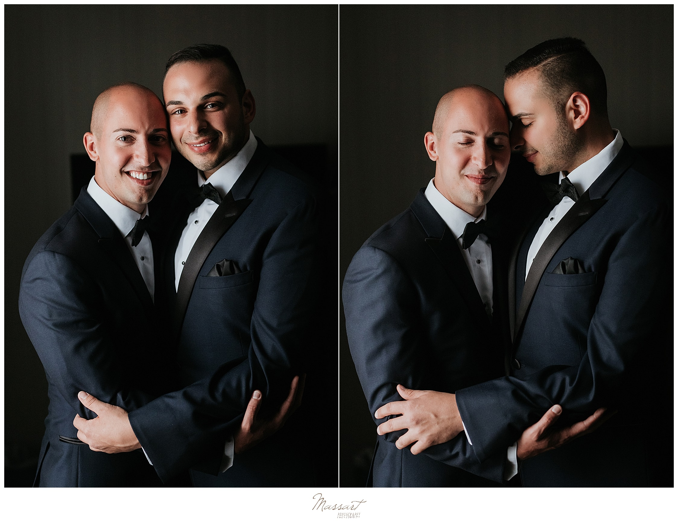 portraits of grooms at Palace Theater wedding day by wedding photographers Massart Photography