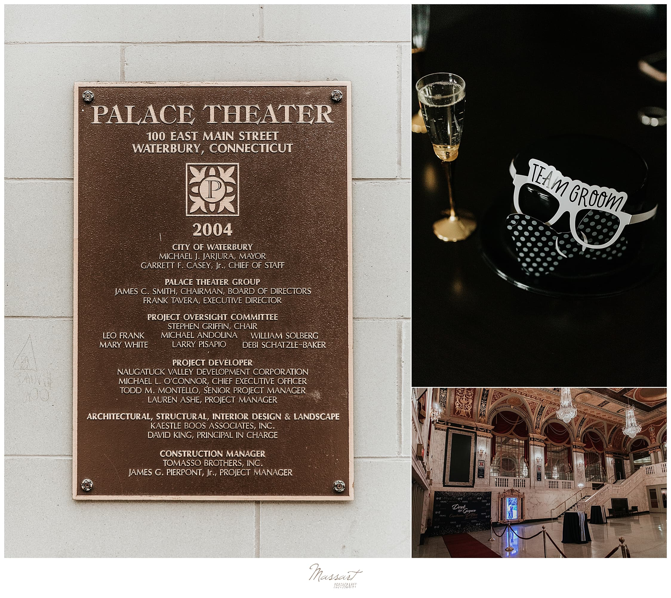 Palace Theater wedding day photographed by Connecticut wedding photographers Massart Photography