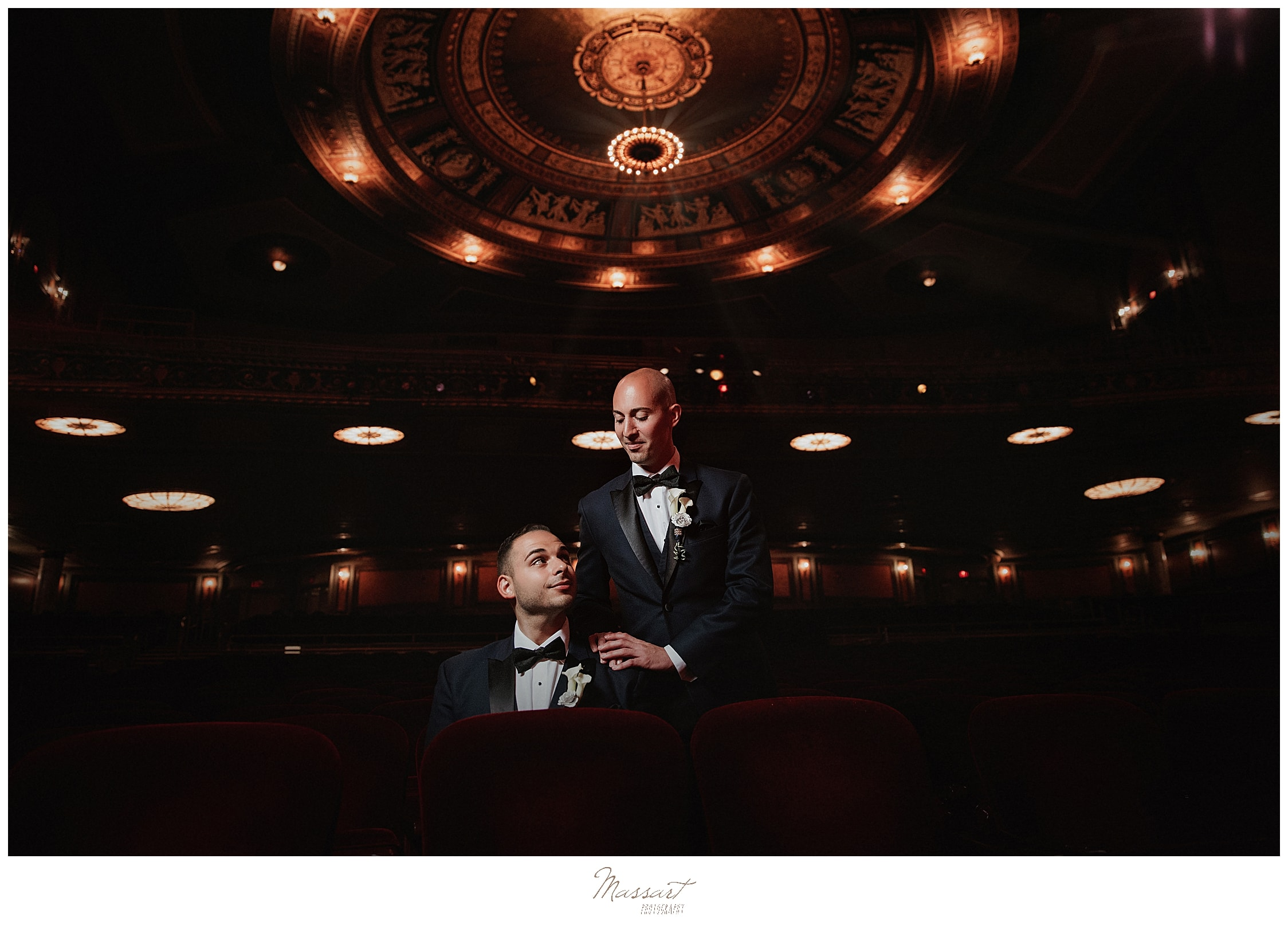 portrait of grooms at Palace Theater wedding by CT wedding photographers Massart Photography