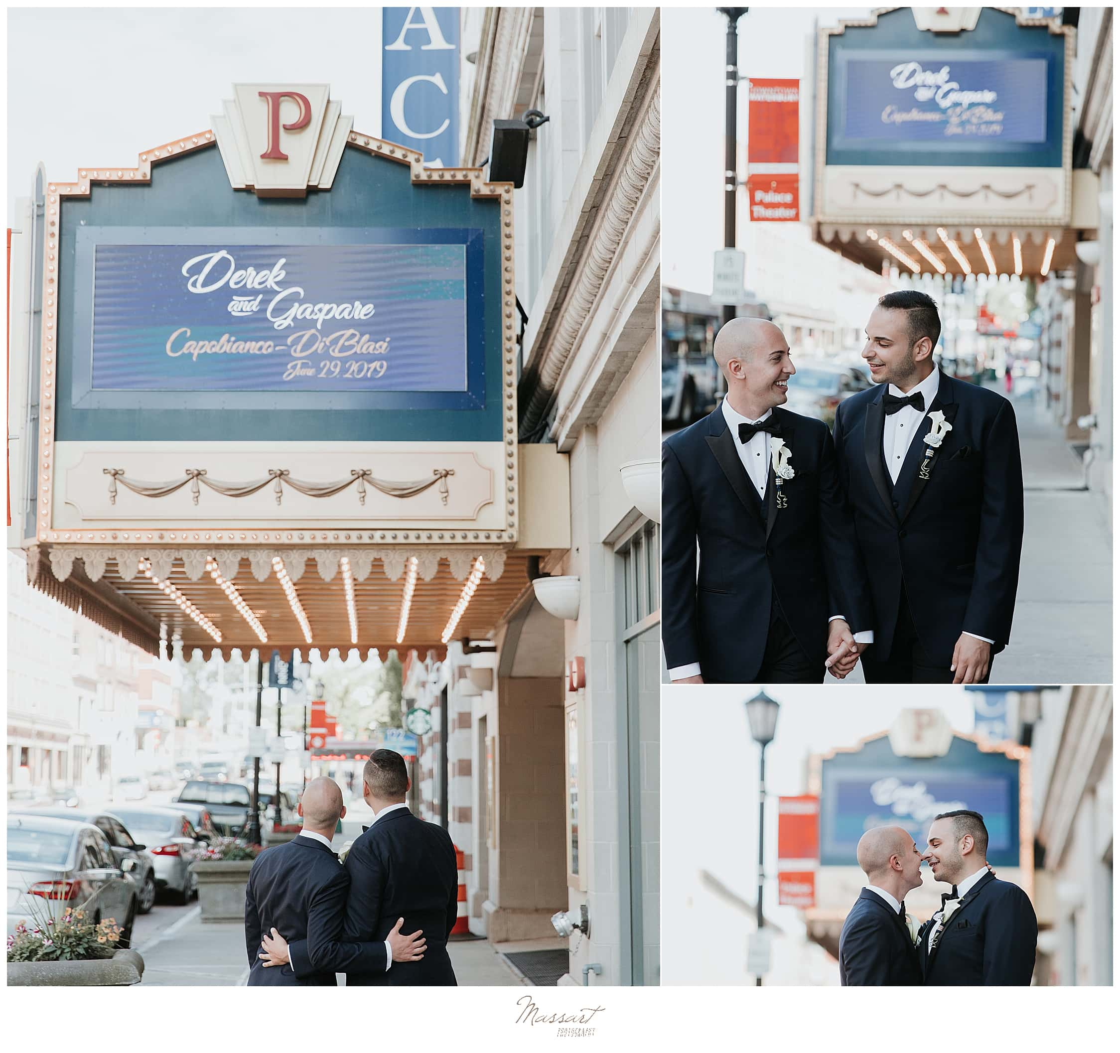 wedding portraits with grooms outside Palace Theater with wedding photographers Massart Photography