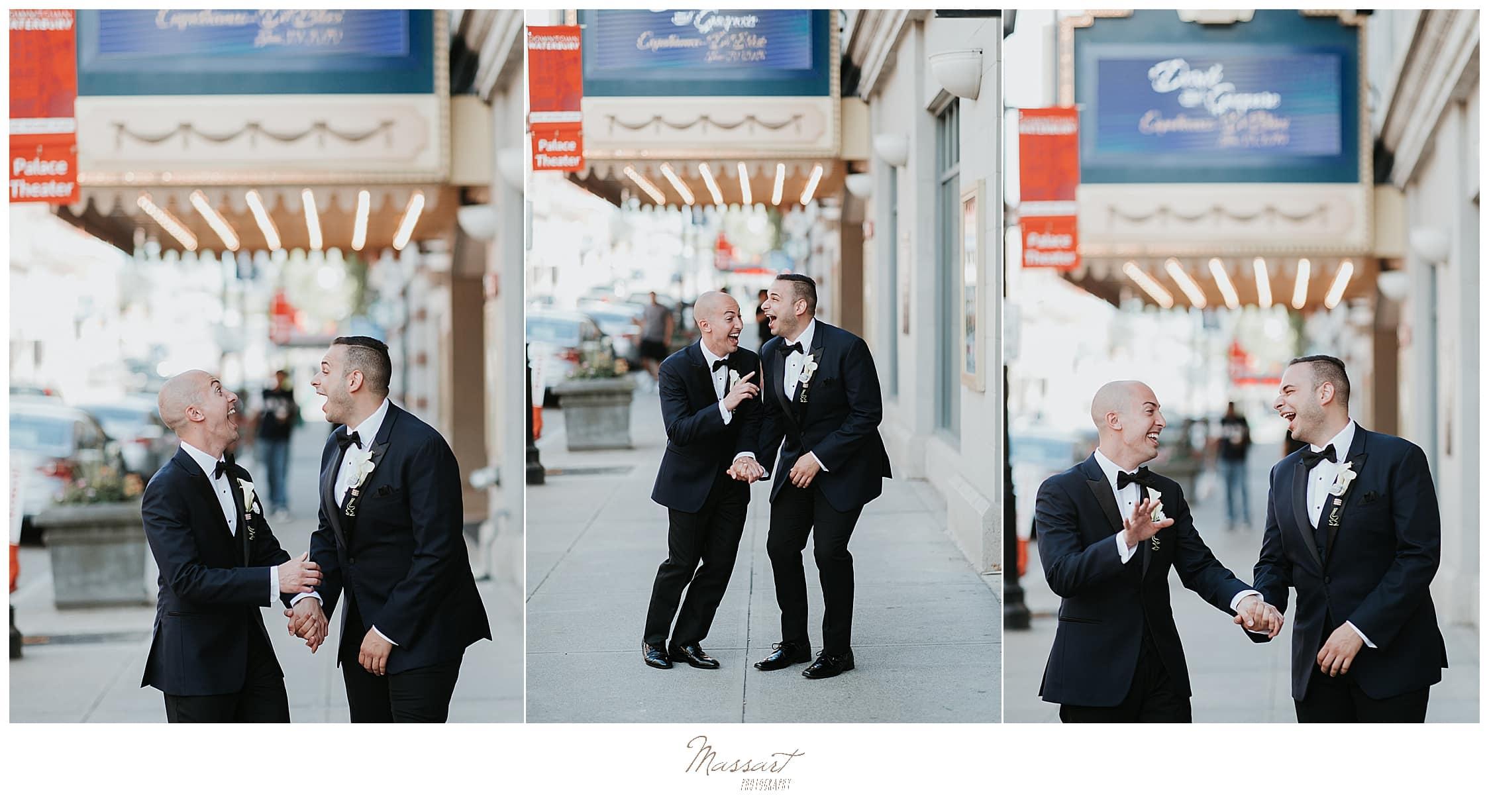 joyful wedding portraits near Palace Theater in Waterbury CT by wedding photographers Massart Photography