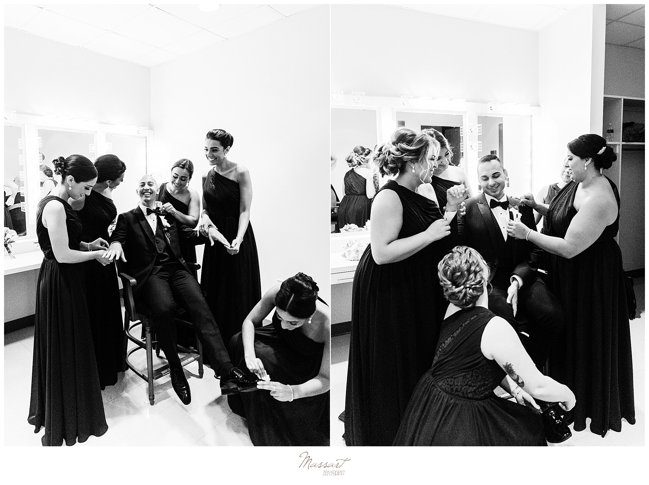 grooms prepare with bridesmaids on wedding day at Palace Theater with wedding photographers Massart Photography