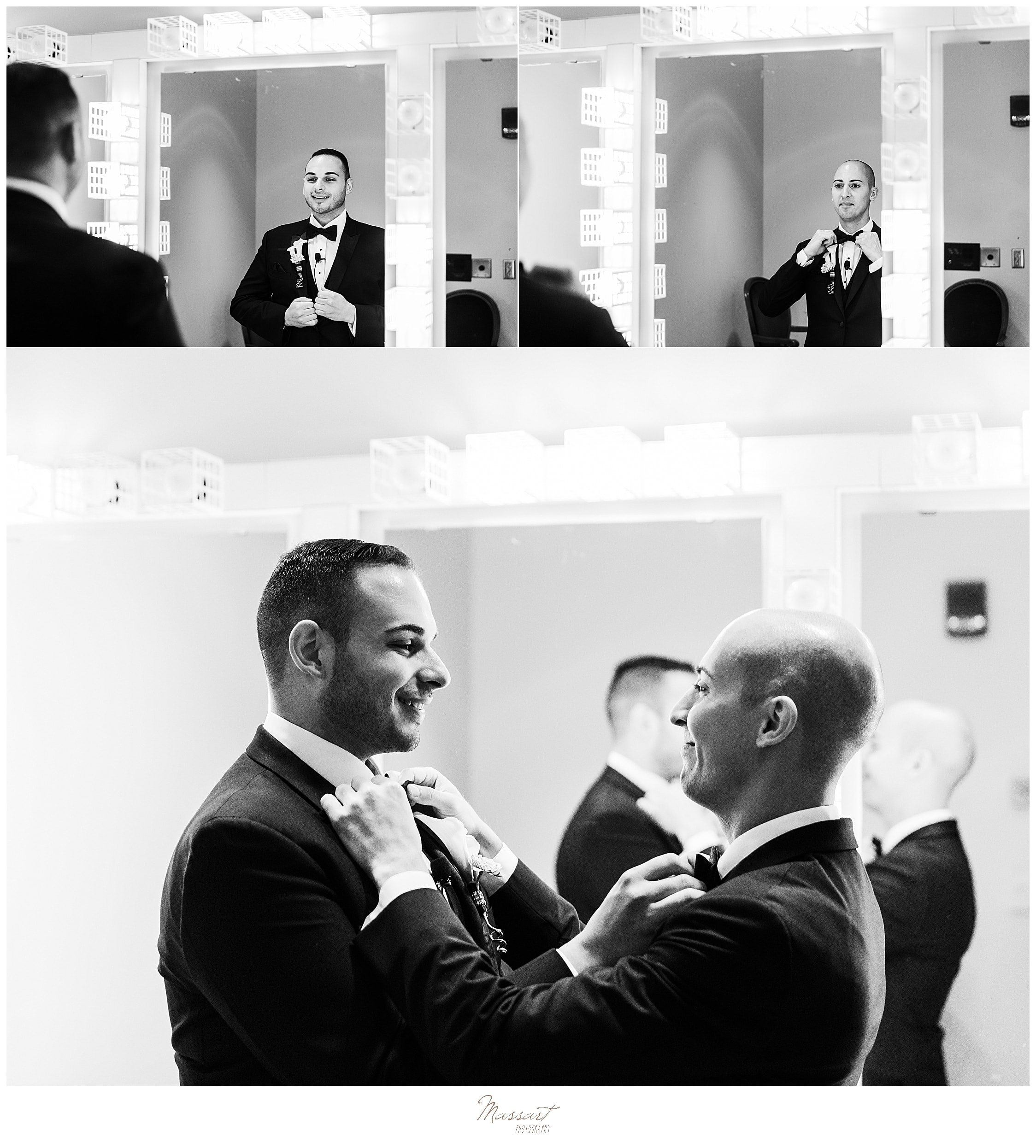 grooms prepare for wedding day together photographed by CT wedding photographers Massart Photography