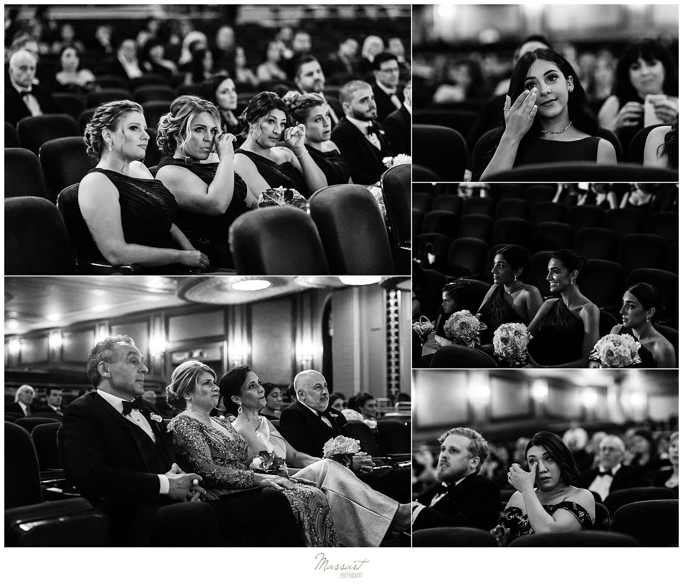friends and family watch Palace Theater wedding day with wedding photographers Massart Photography