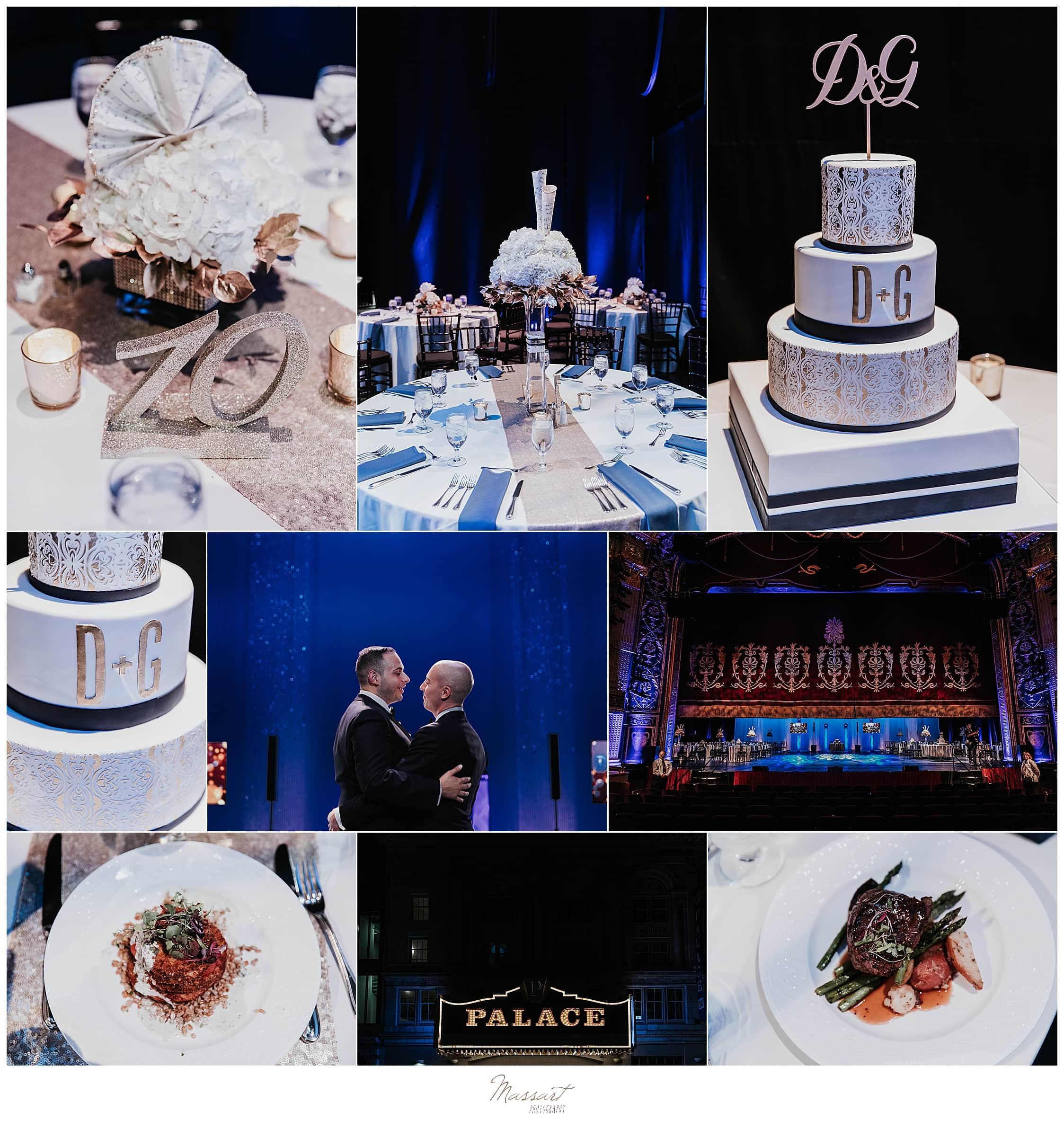 glamorous wedding reception details photographed by wedding photographers Massart Photography