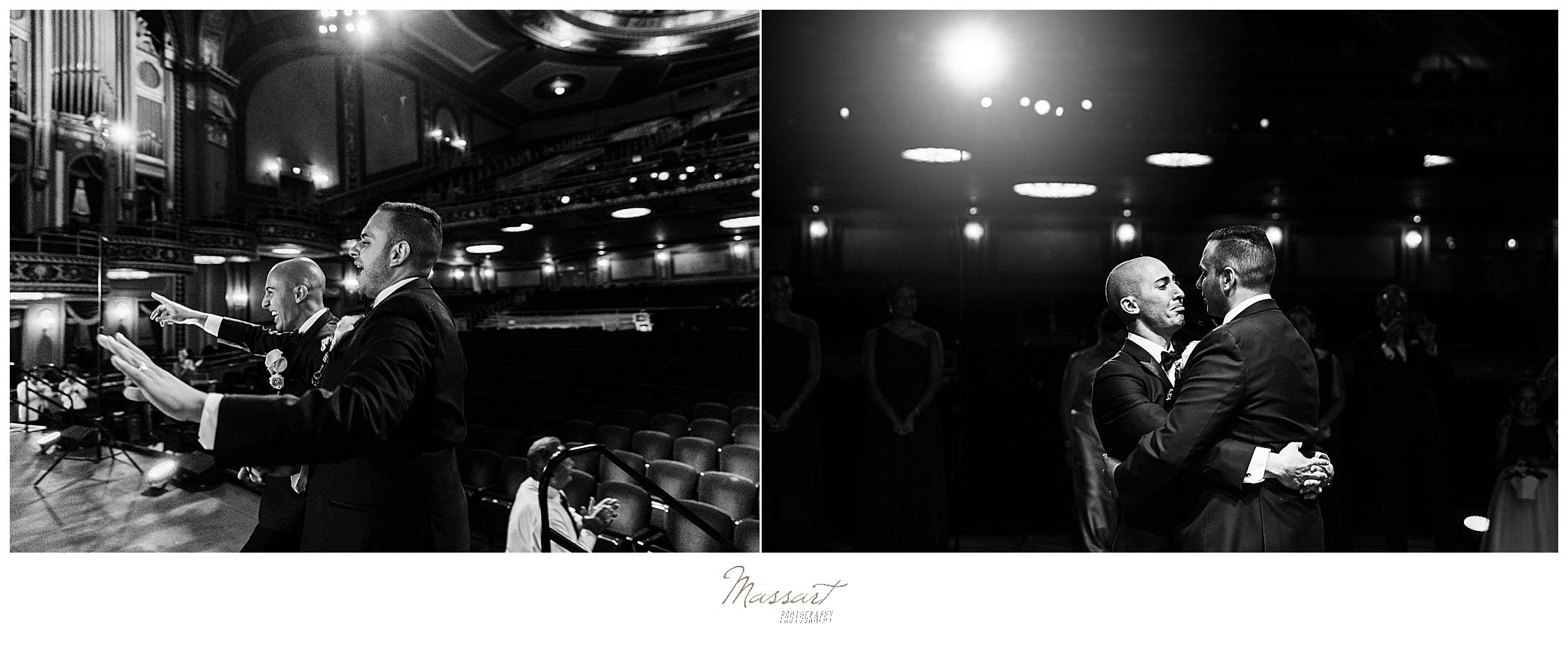 Palace Theater wedding reception with wedding photographers Massart Photography