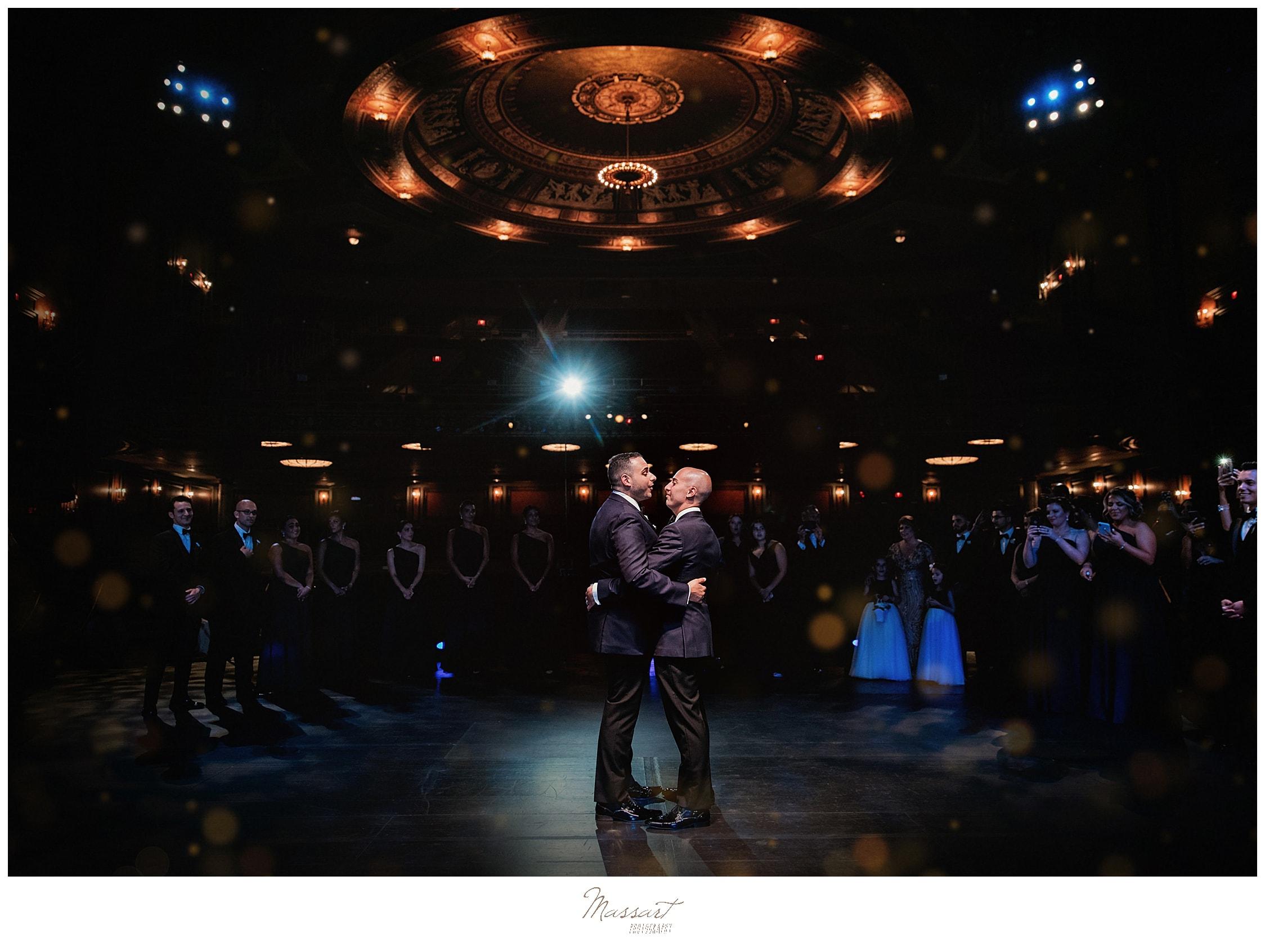 glamorous wedding portraits in Palace Theater with CT wedding photographers Massart Photography