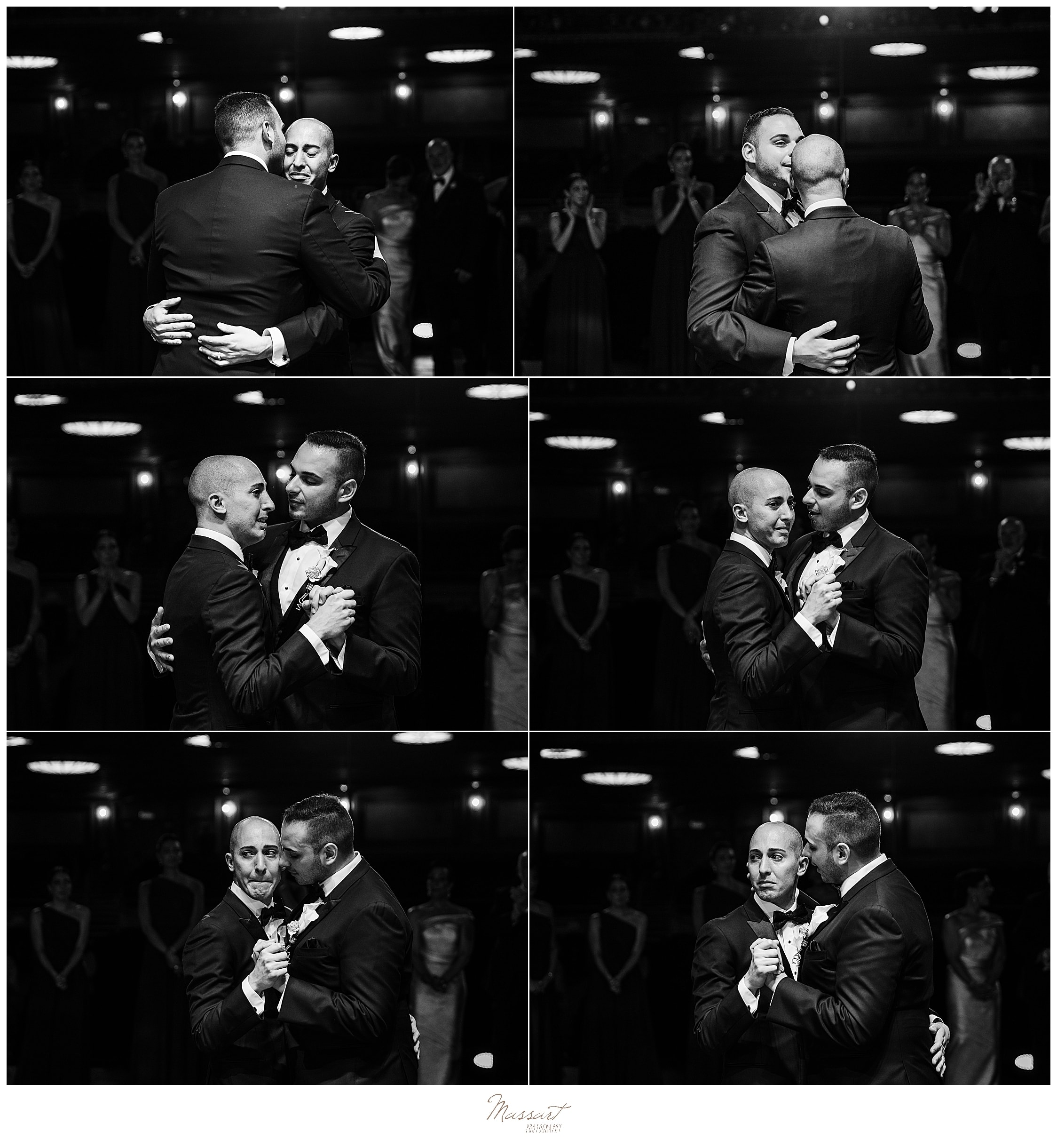first dance for grooms at Palace Theater wedding day by wedding photographers Massart Photography